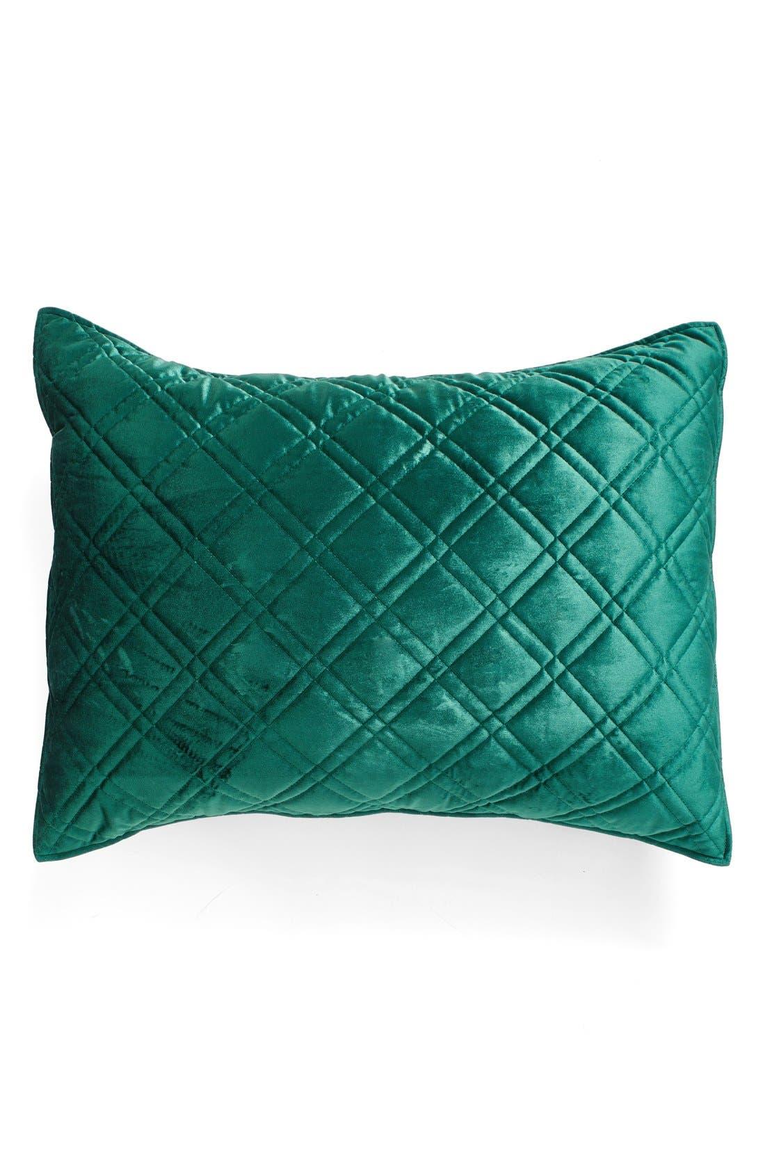 Quilted Velvet Standard Sham,                         Main,                         color, Emerald