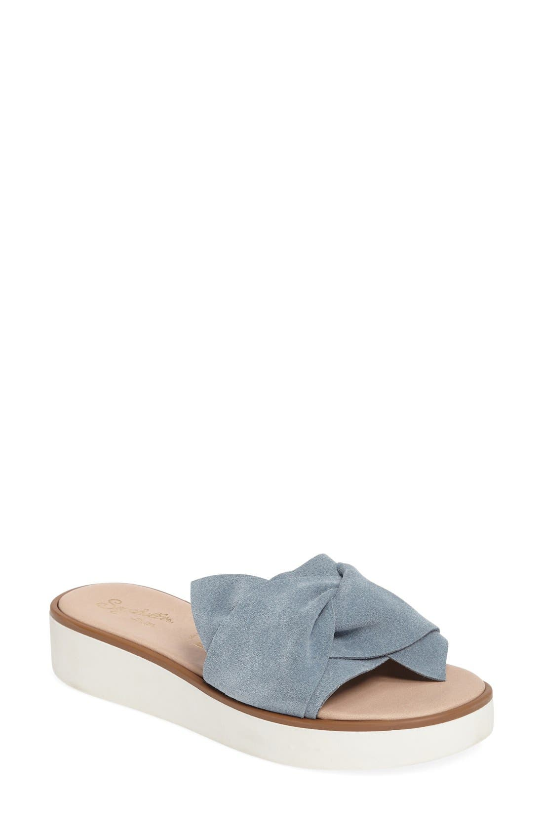 Coast Knotted Slide Sandal,                         Main,                         color, Blue Suede