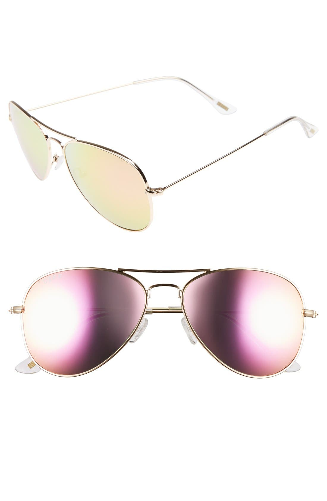 Cruz 57mm Metal Aviator Sunglasses,                         Main,                         color, Gold/ Pink