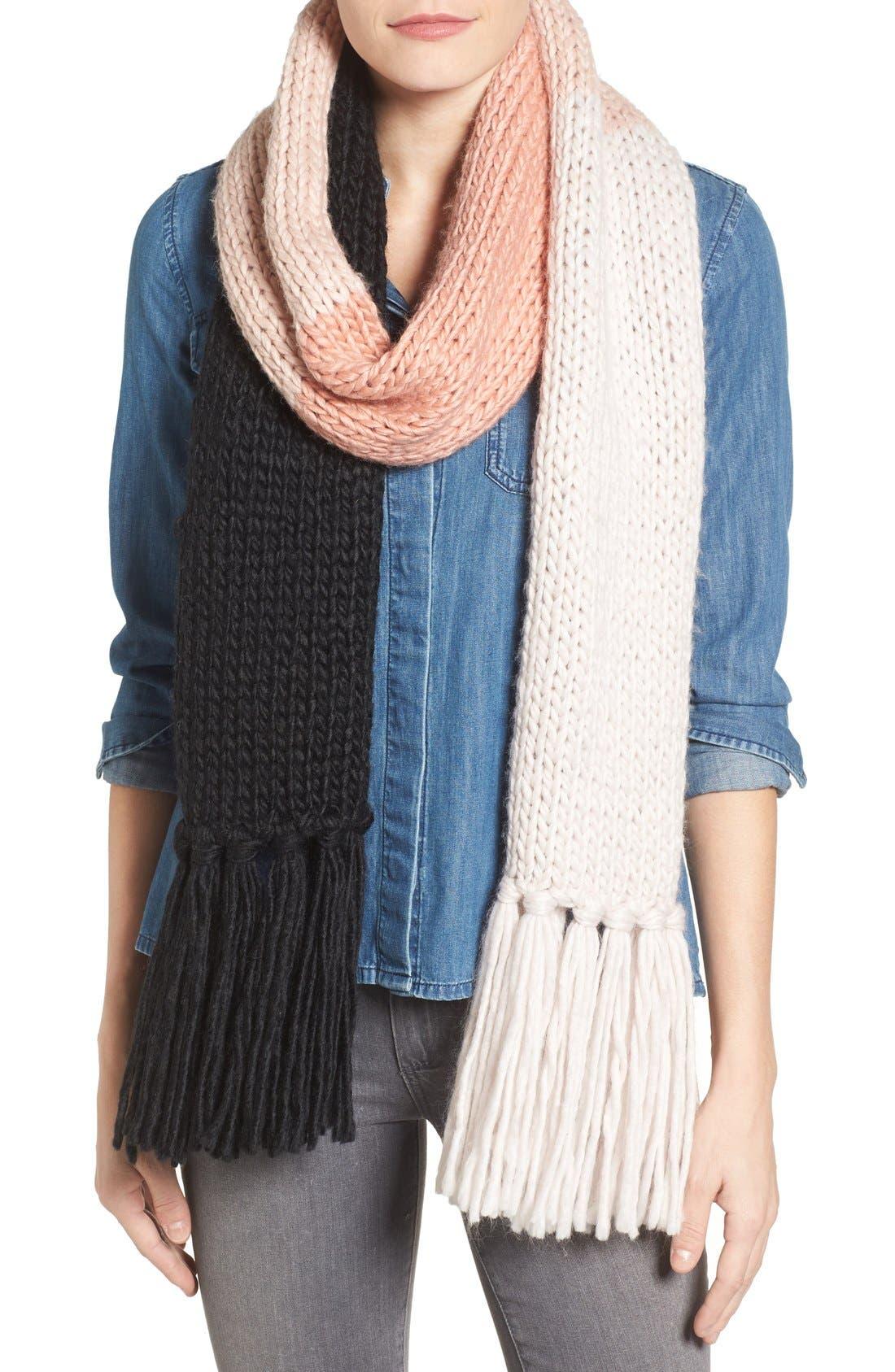 Alternate Image 1 Selected - kate spade new york hand knit colorblock muffler
