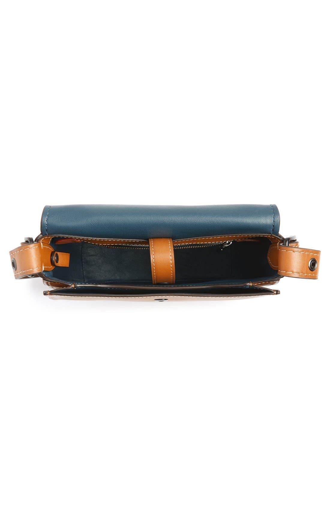 '23' Leather Saddle Bag,                             Alternate thumbnail 4, color,                             Butterscotch