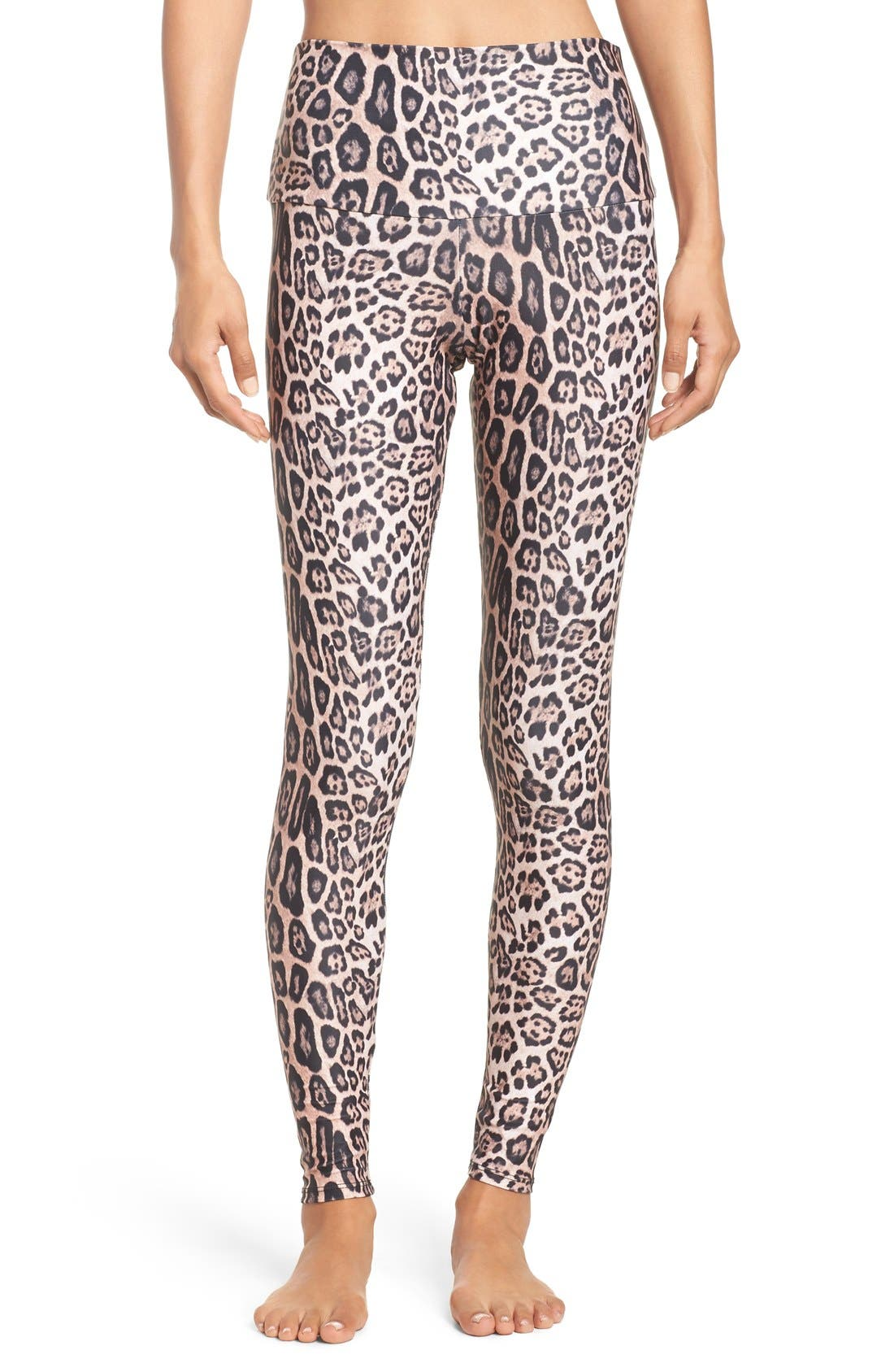 High Waist Leggings,                         Main,                         color, Leopard