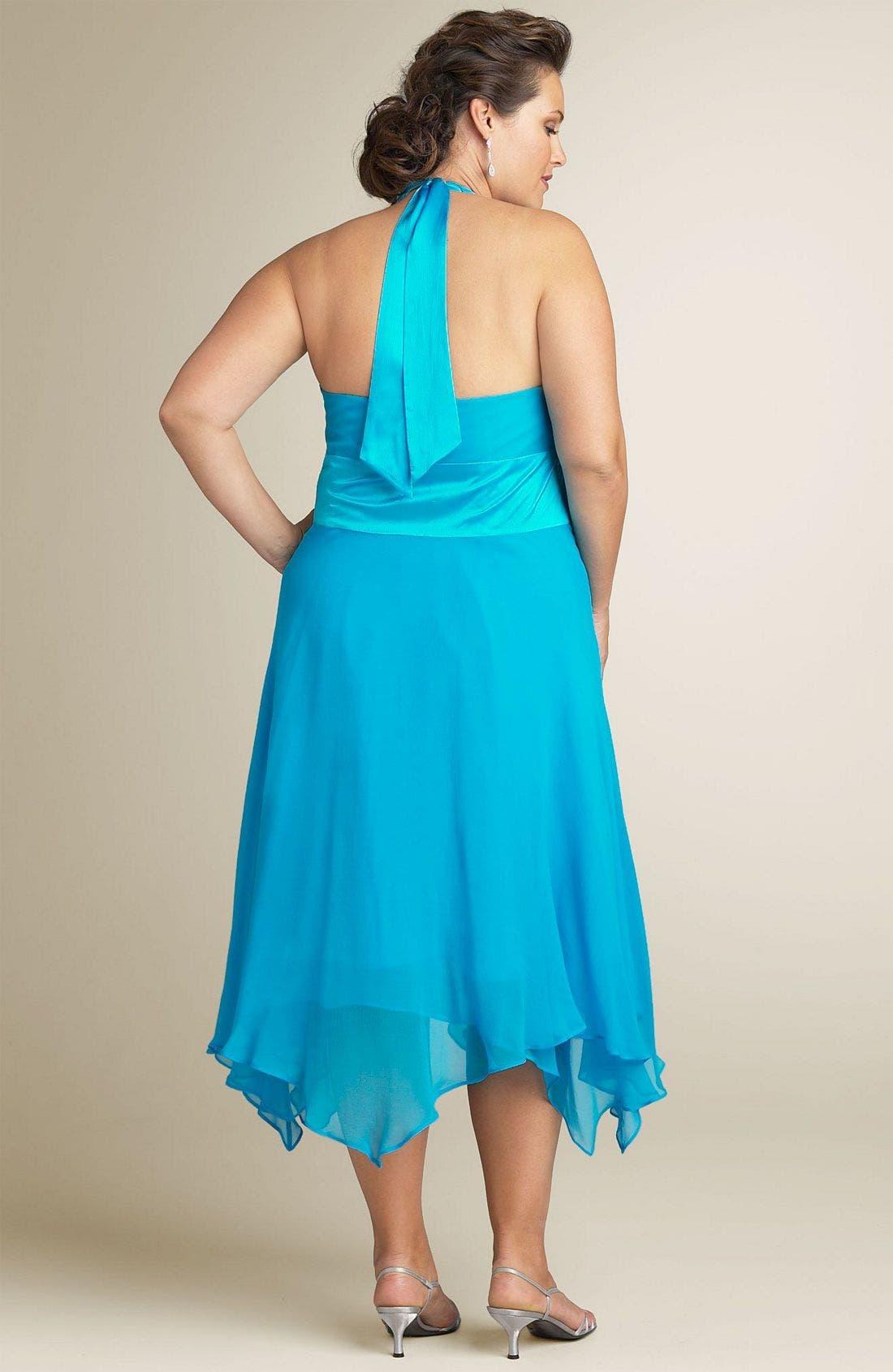 Alternate Image 2  - Donna Ricco Halter Dress (Plus Size)