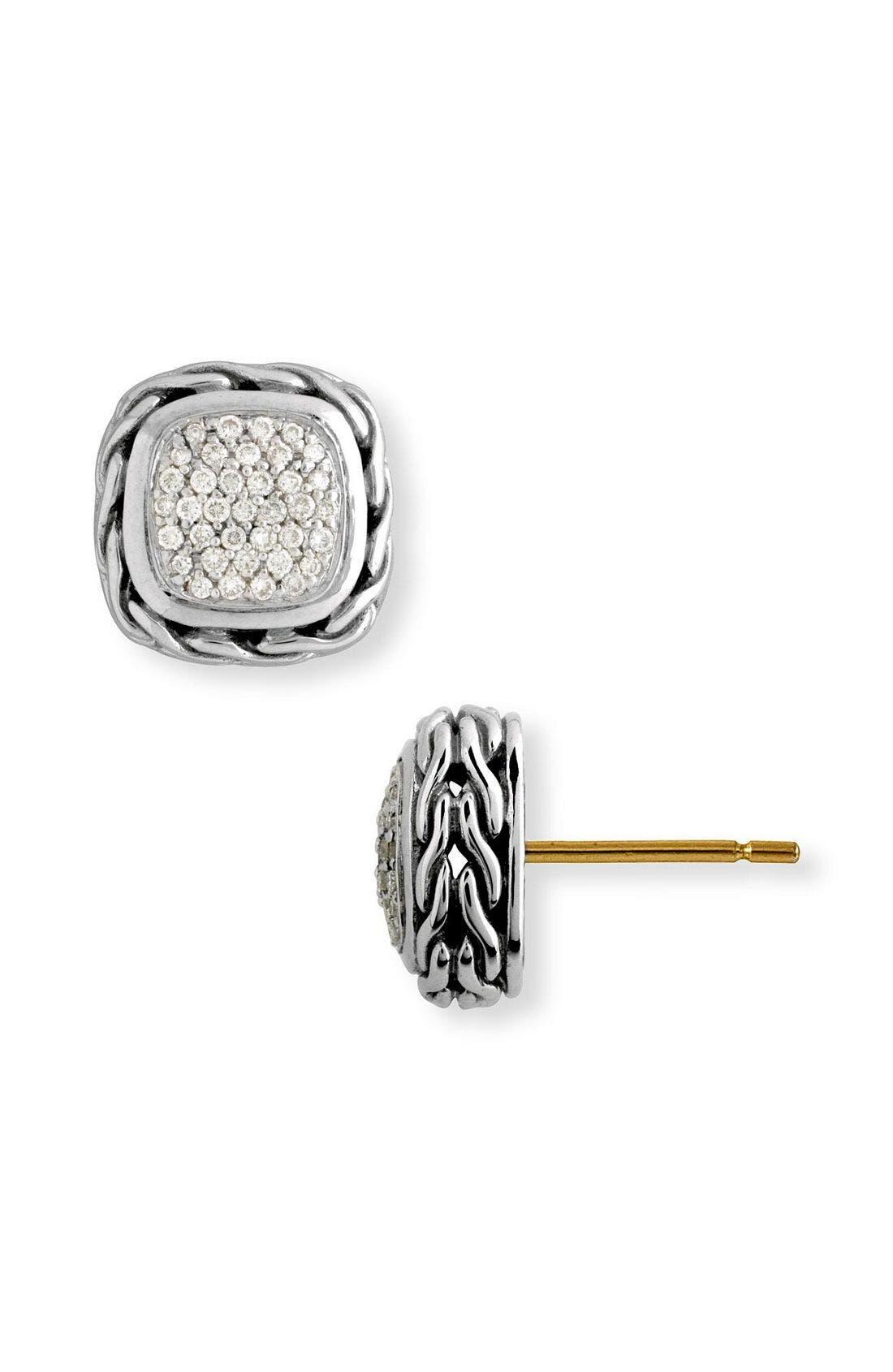 'Classic Chain' Small Square Pavé Diamond Earrings,                         Main,                         color, Silver