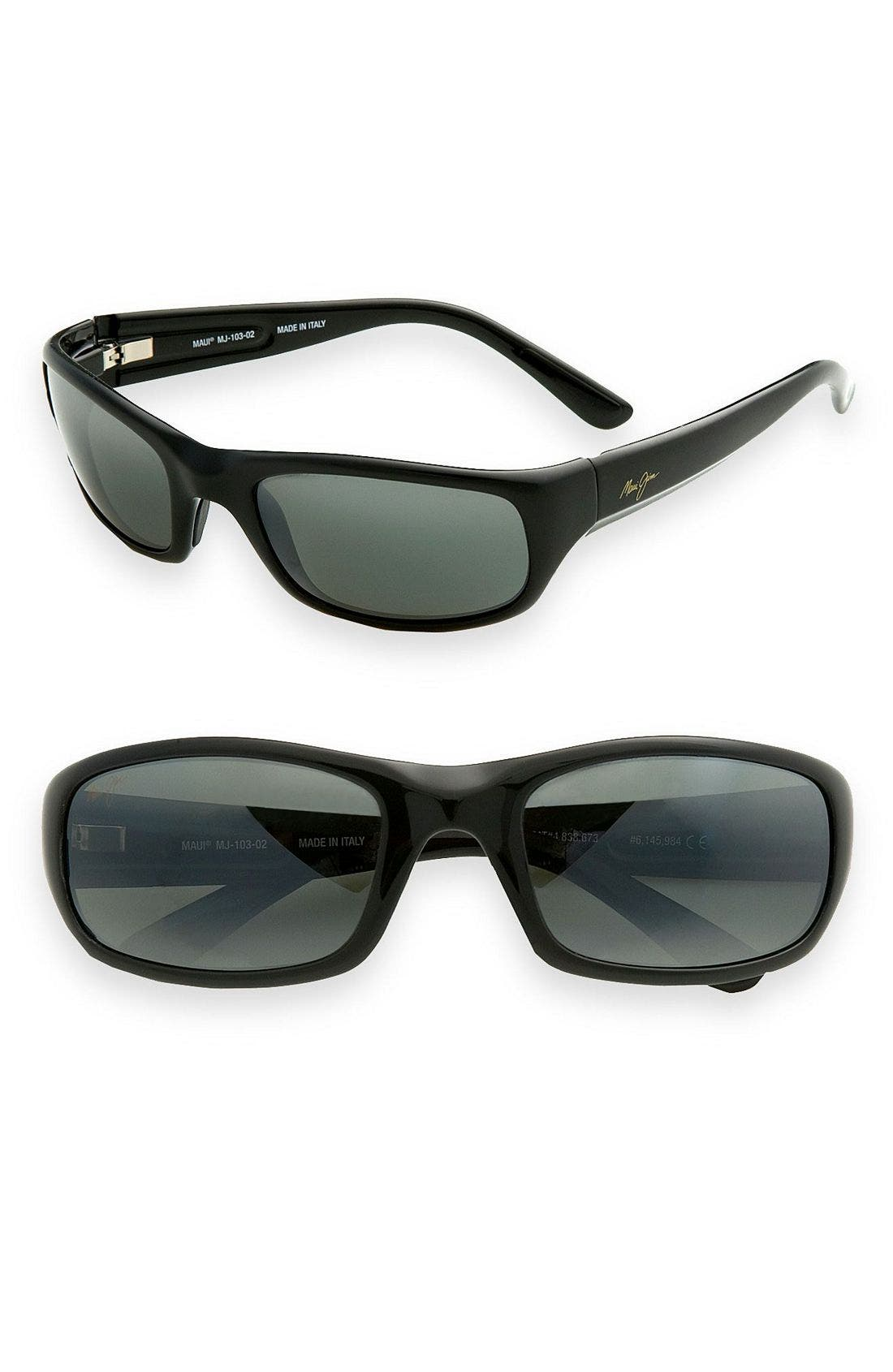 'Stingray - PolarizedPlus<sup>®</sup>2' 56mm Sunglasses,                         Main,                         color, Black