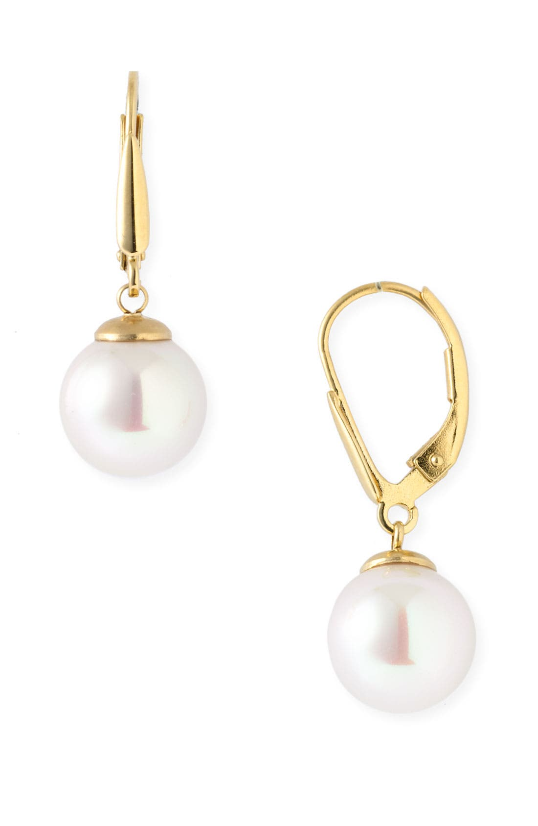 Pearl Drop Earrings,                         Main,                         color, White Pearl / Gold