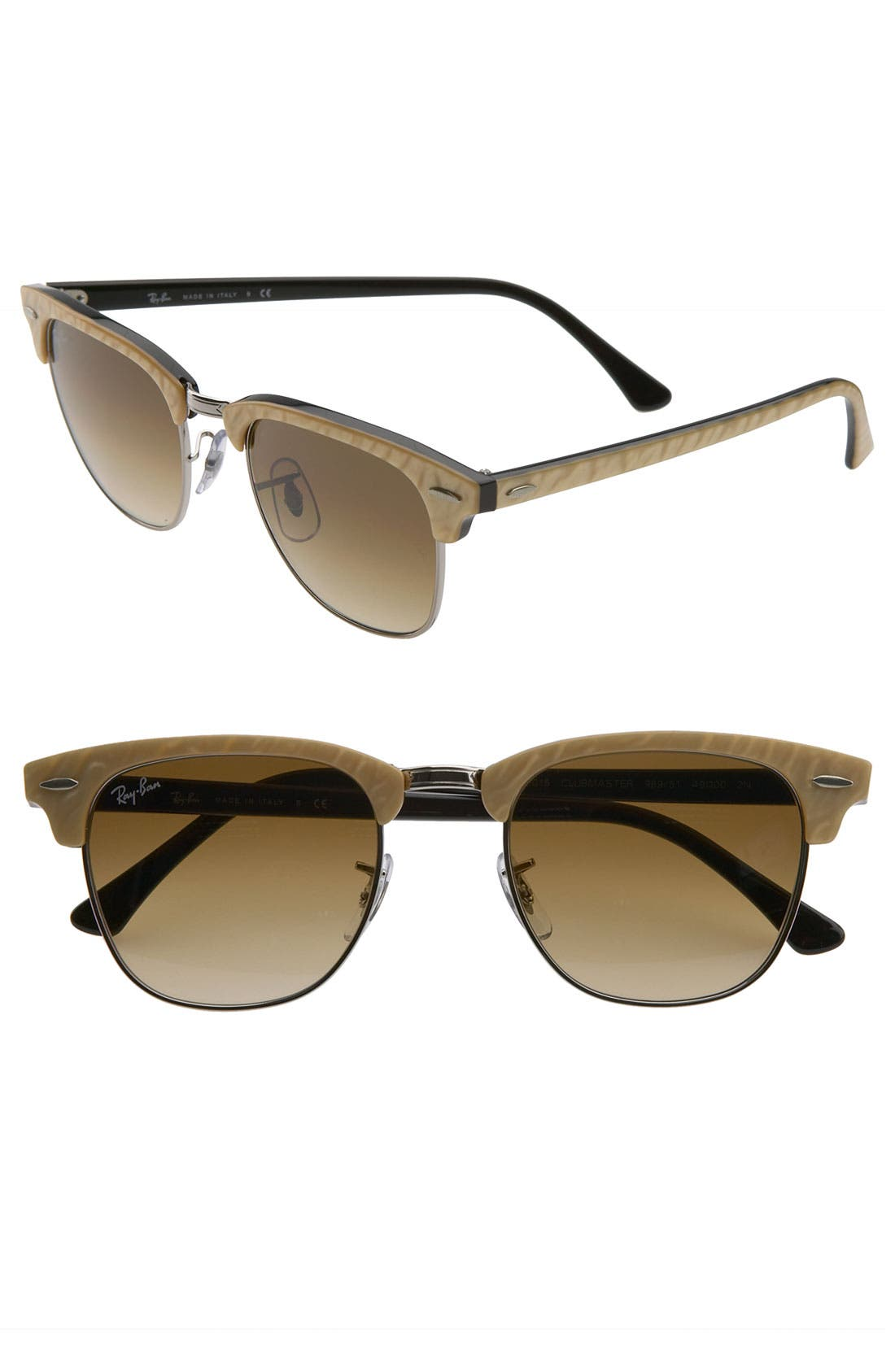 'Clubmaster' 49mm Sunglasses,                             Main thumbnail 1, color,                             Beige/ Black