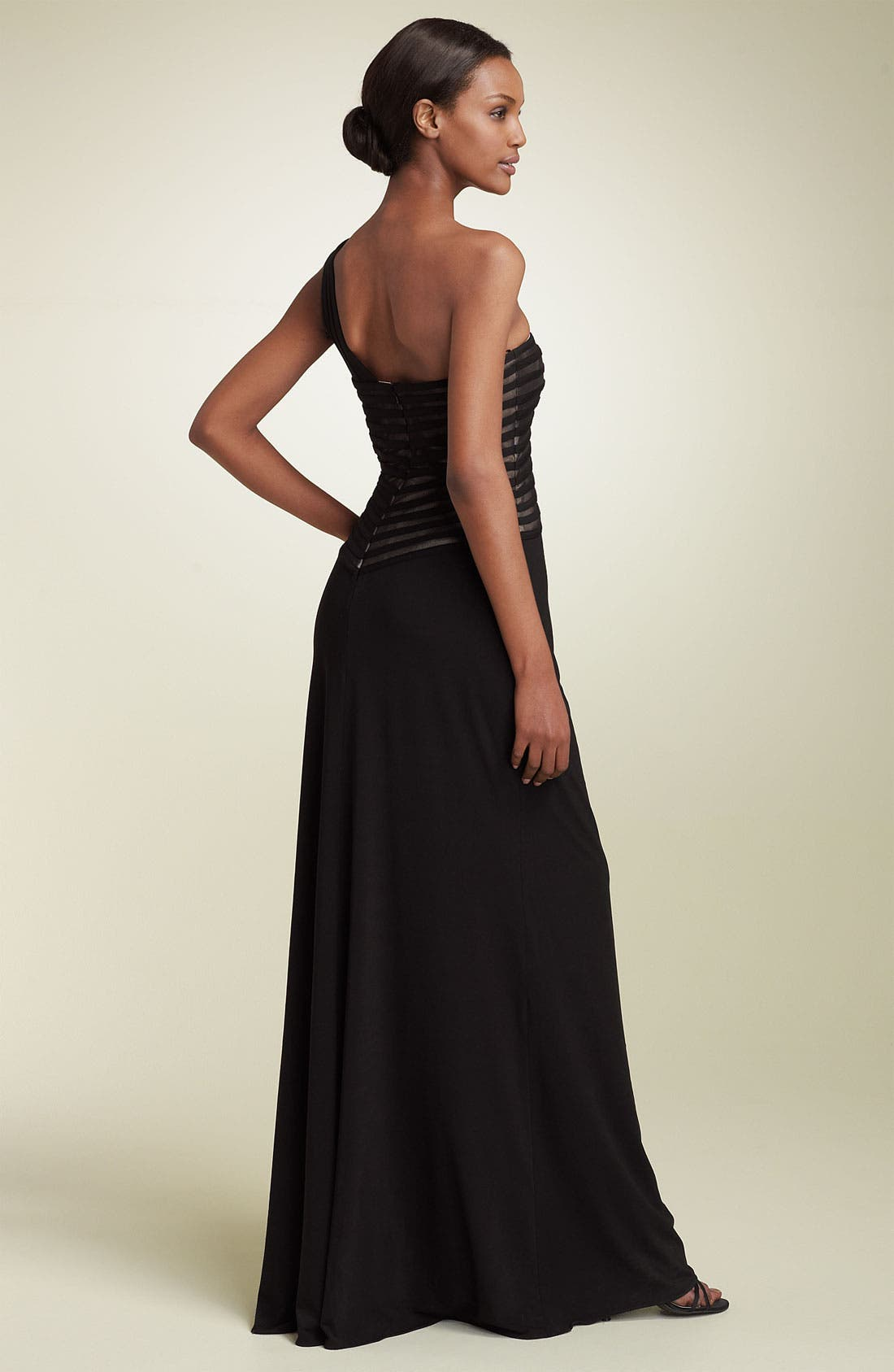 Alternate Image 2  - JS Collections One Shoulder Mesh & Jersey Gown