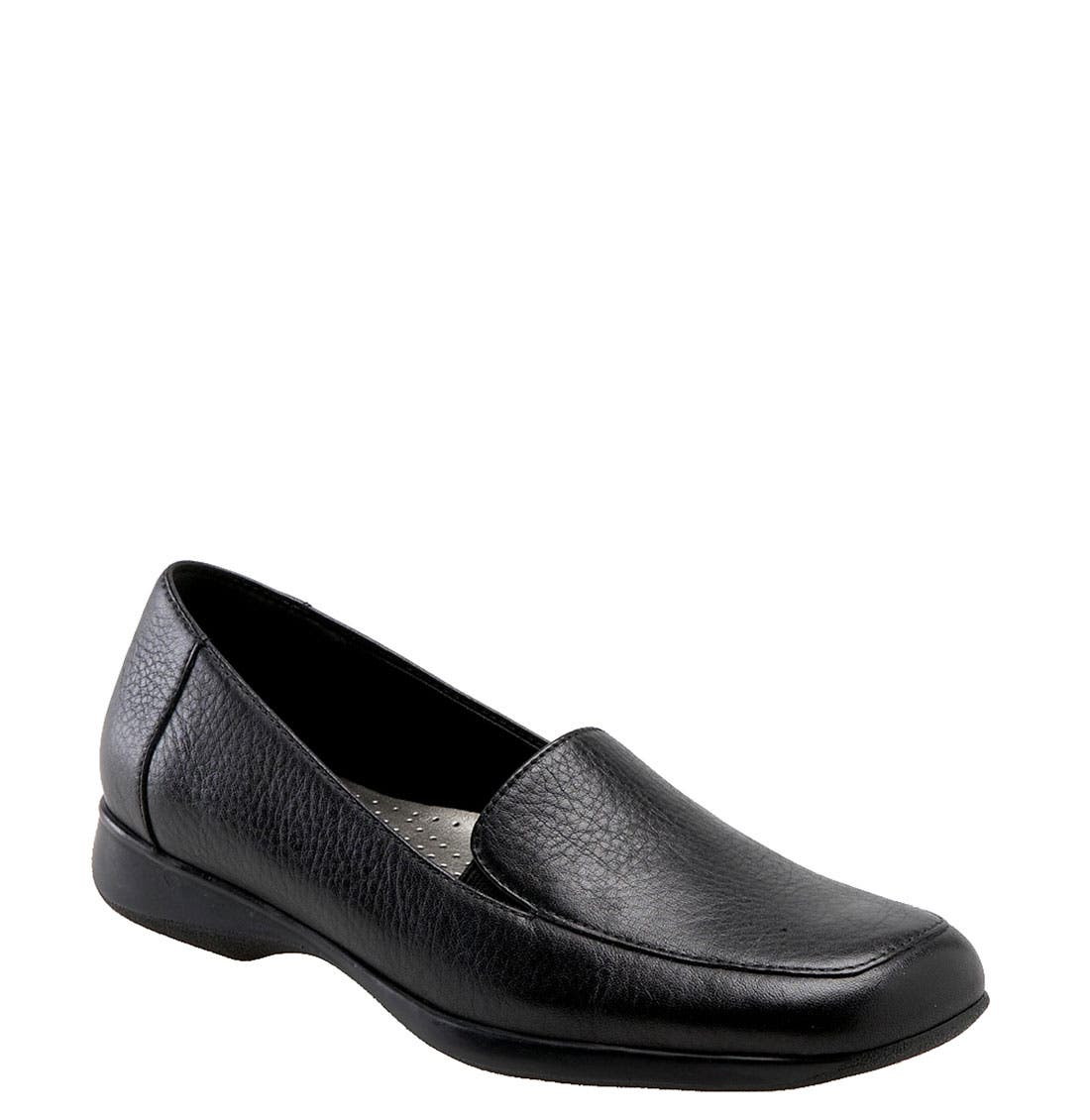 'Jenn' Loafer,                             Main thumbnail 1, color,                             Black Soft Tumbled Leather