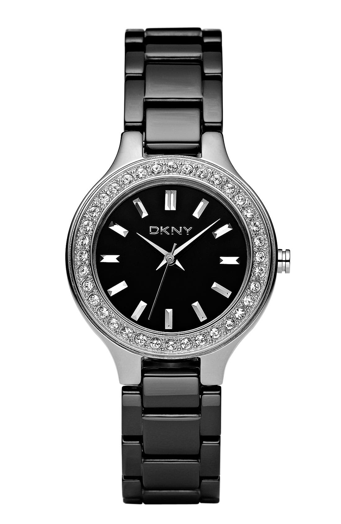 Main Image - DKNY Ceramic Crystal Bezel Bracelet Watch, 30mm