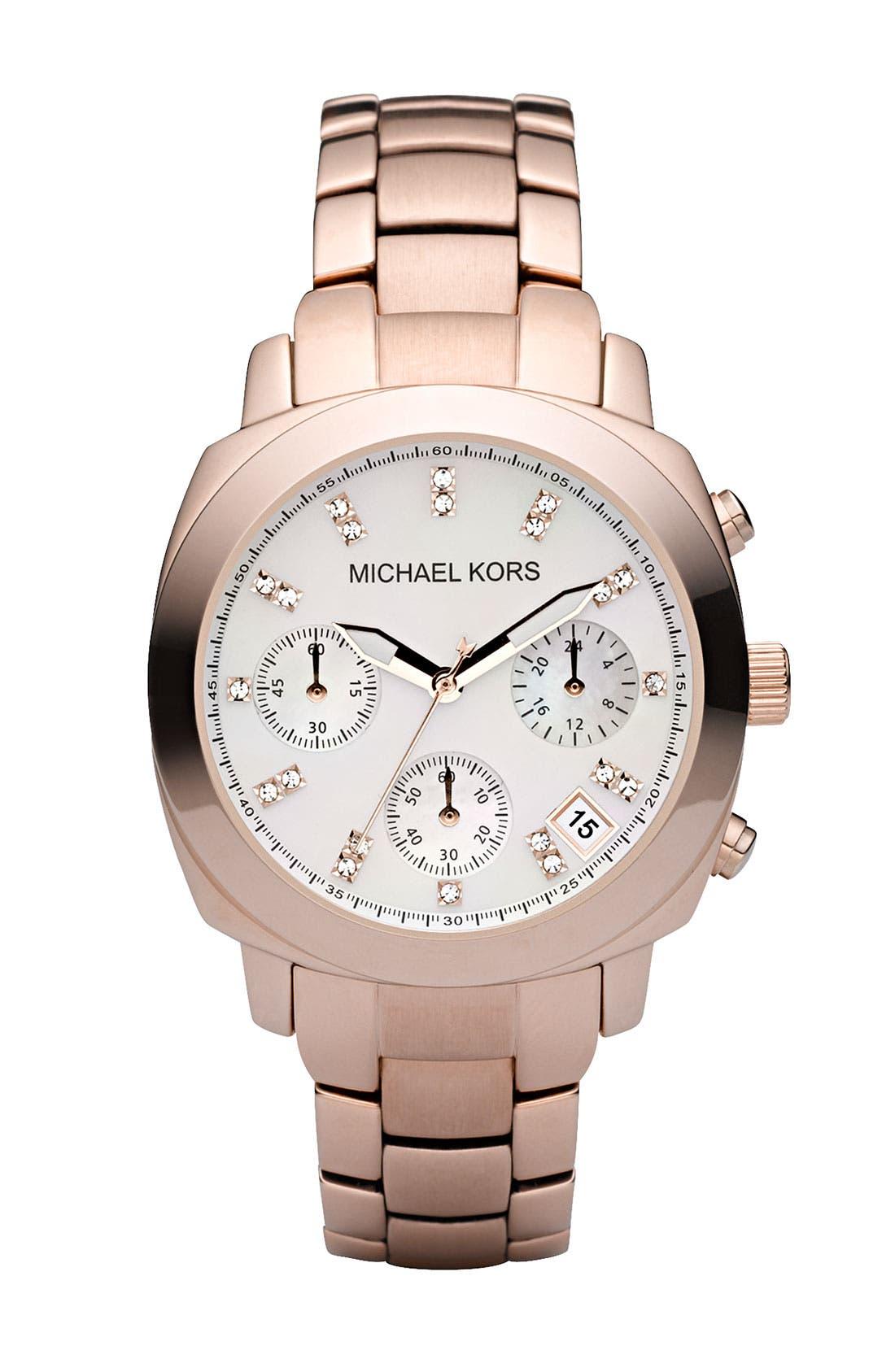 Alternate Image 1 Selected - Michael Kors Chronograph Rose Gold Bracelet Watch