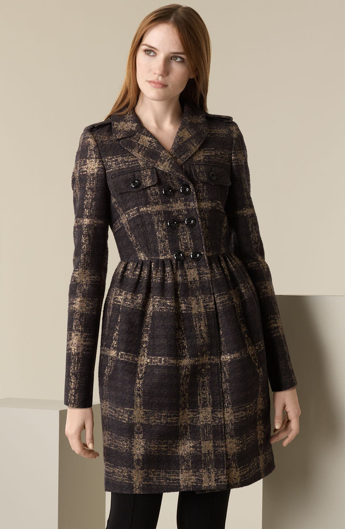 Alternate Image 1 Selected - Burberry London Shimmer Check Trench Coat