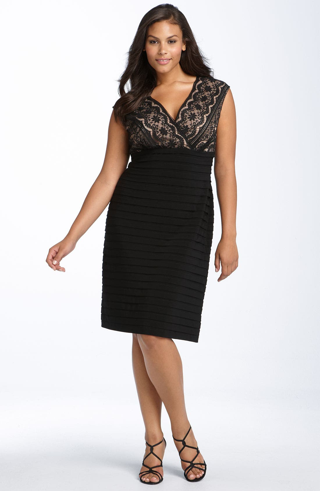 Alternate Image 1 Selected - Adrianna Papell Lace Bodice Banded Dress (Plus Size)