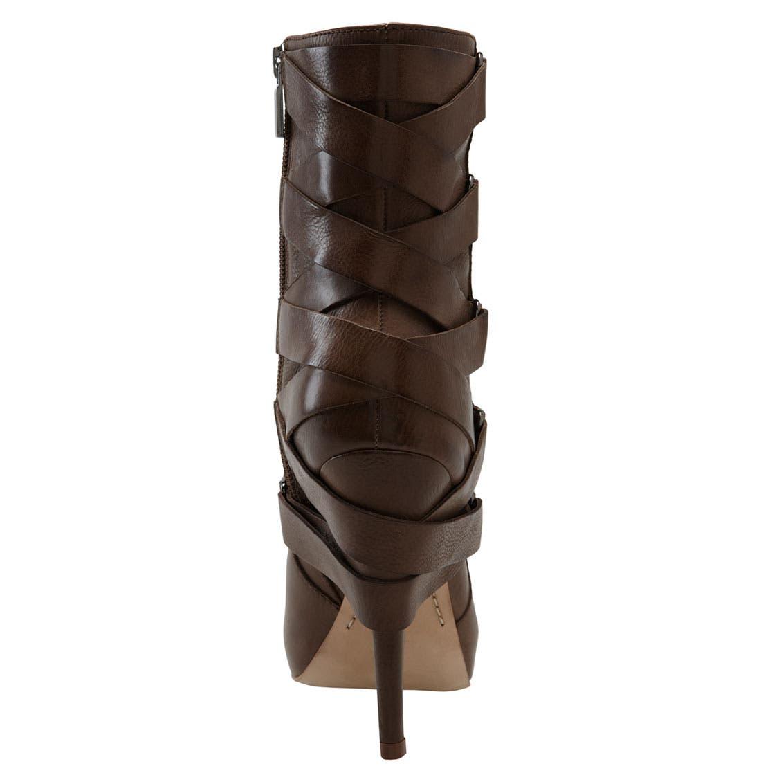'Strut' Ankle Boot,                             Alternate thumbnail 3, color,                             Brown