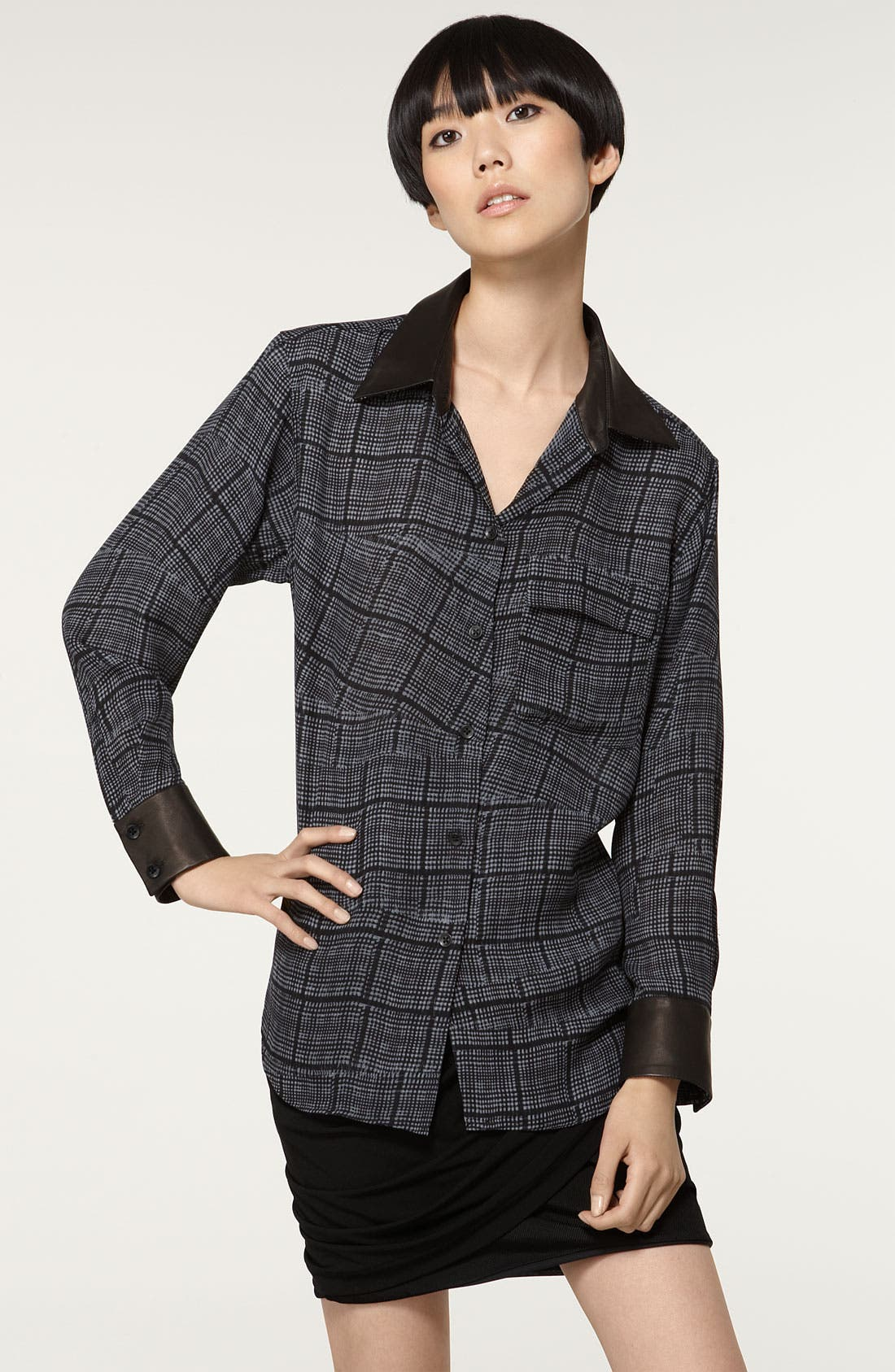 Main Image - Rag & Bone 'Marais' Lambskin Leather Trim Silk Shirt