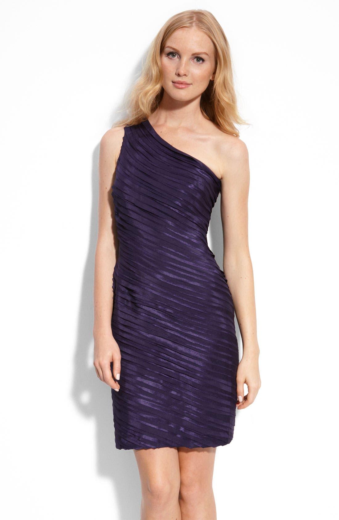 Main Image - Calvin Klein One Shoulder Tiered Satin Dress