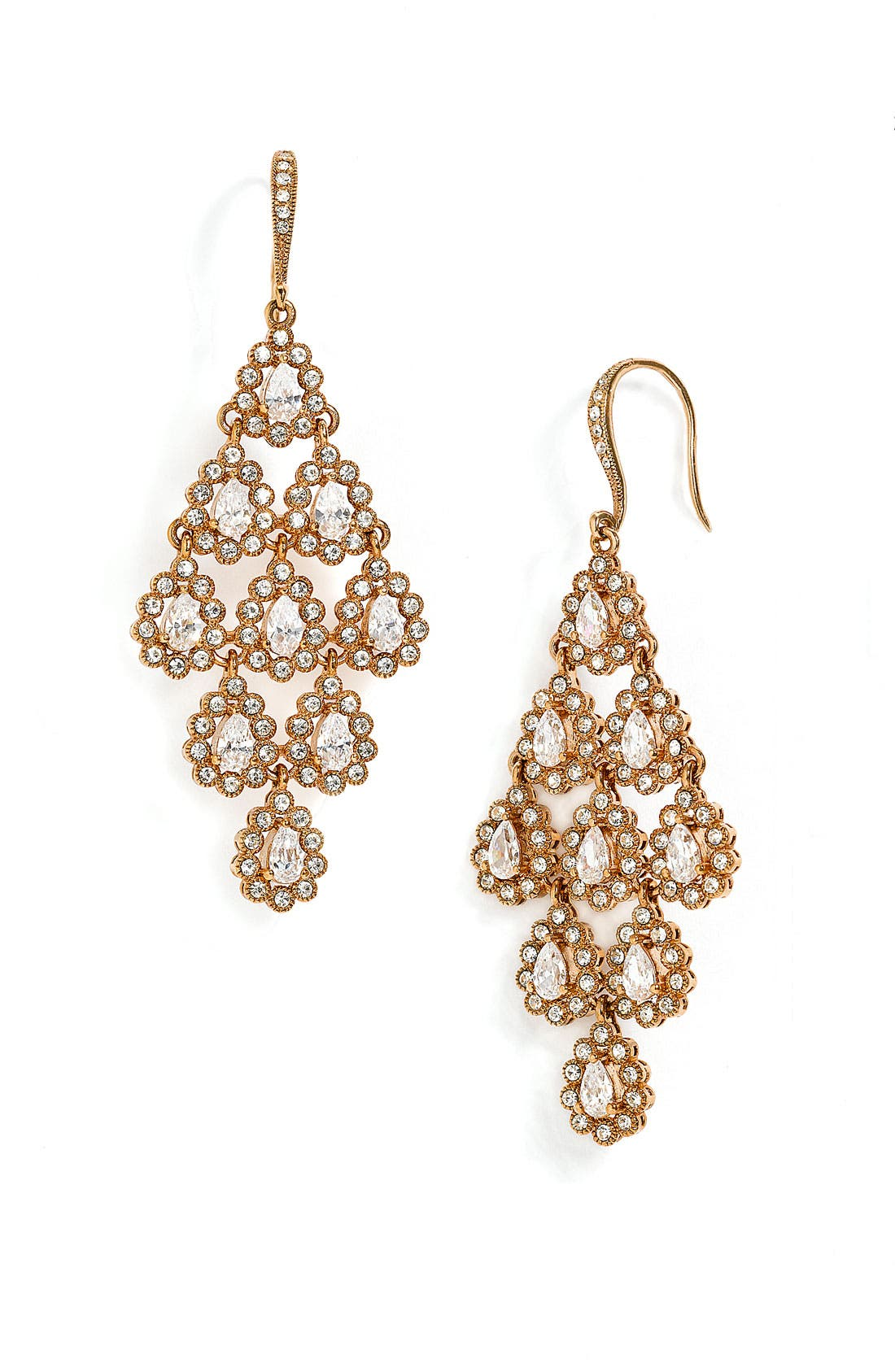 Tiered Chandelier Earrings,                             Main thumbnail 1, color,                             Rose Gold