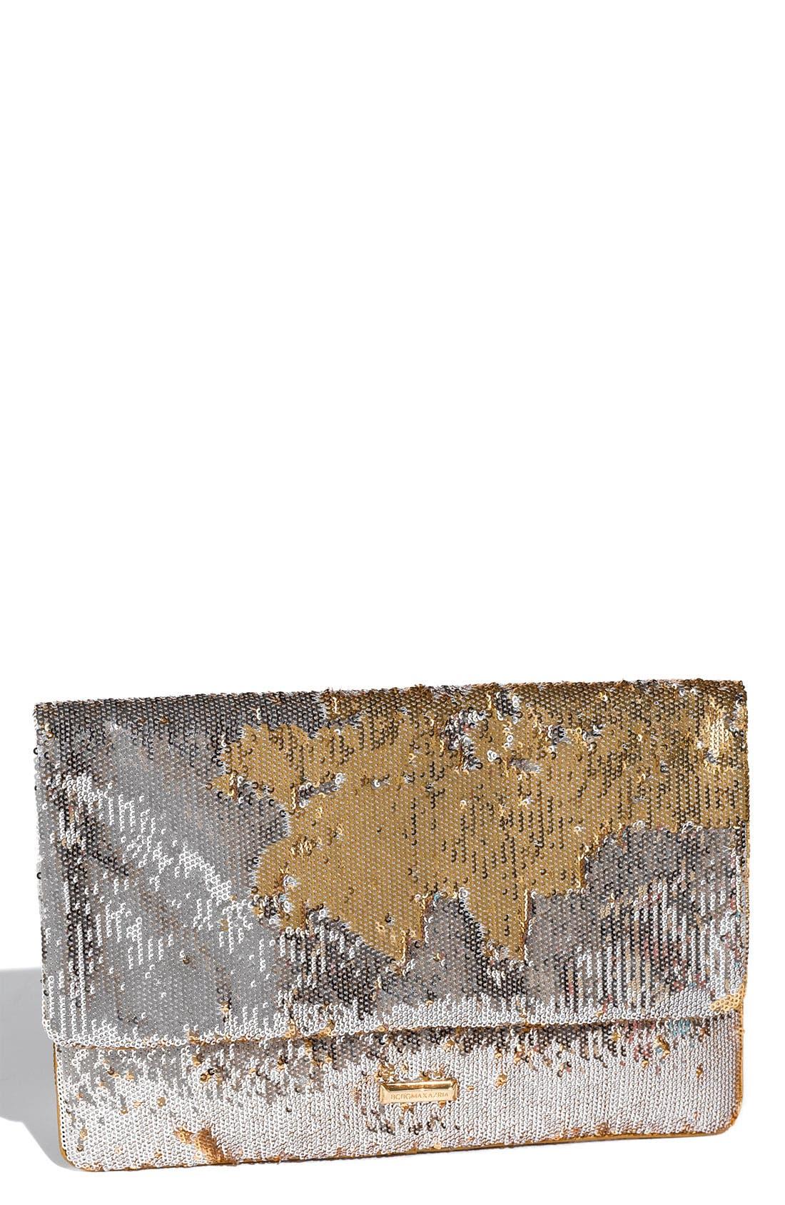 Main Image - BCBGMAXAZRIA Reversible Sequin Envelope Clutch