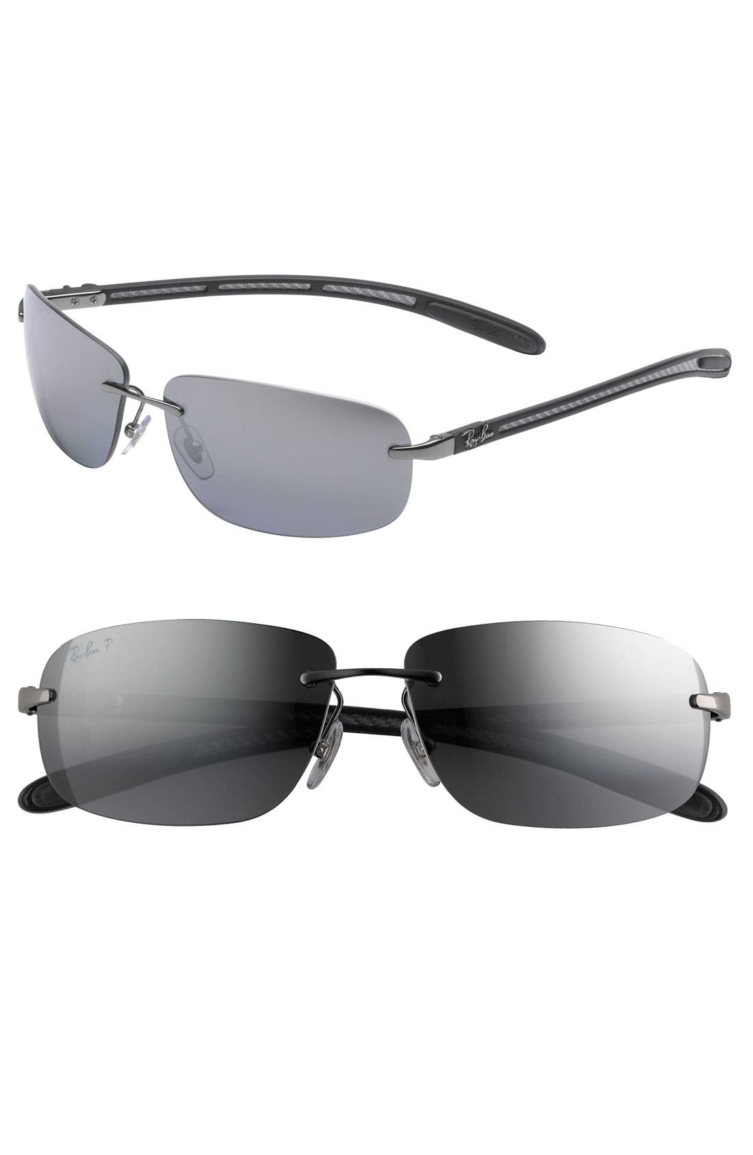 Alternate Image 1 Selected - Ray-Ban 'Tech' Rimless 61mm Sunglasses