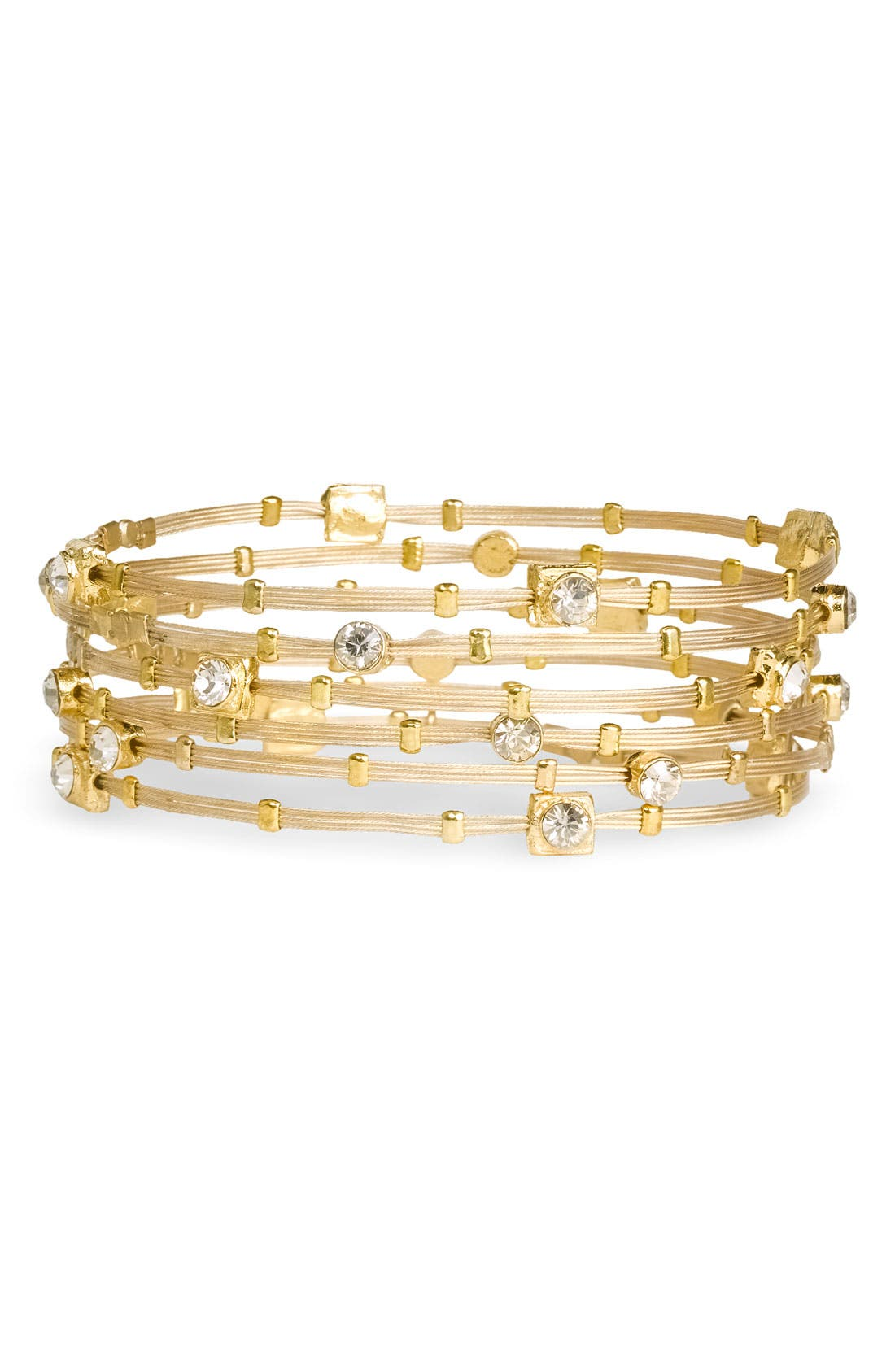 Crystal & Metal Bangles,                         Main,                         color, Gold/ Clear