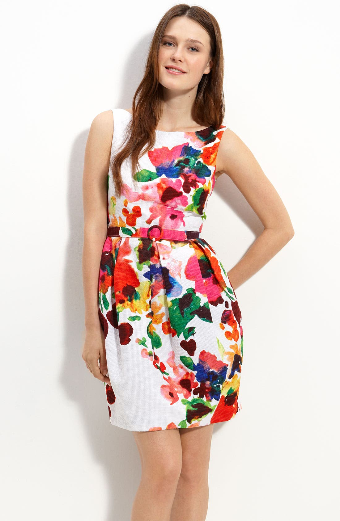 Main Image - Eliza J Belted Cotton Party Dress