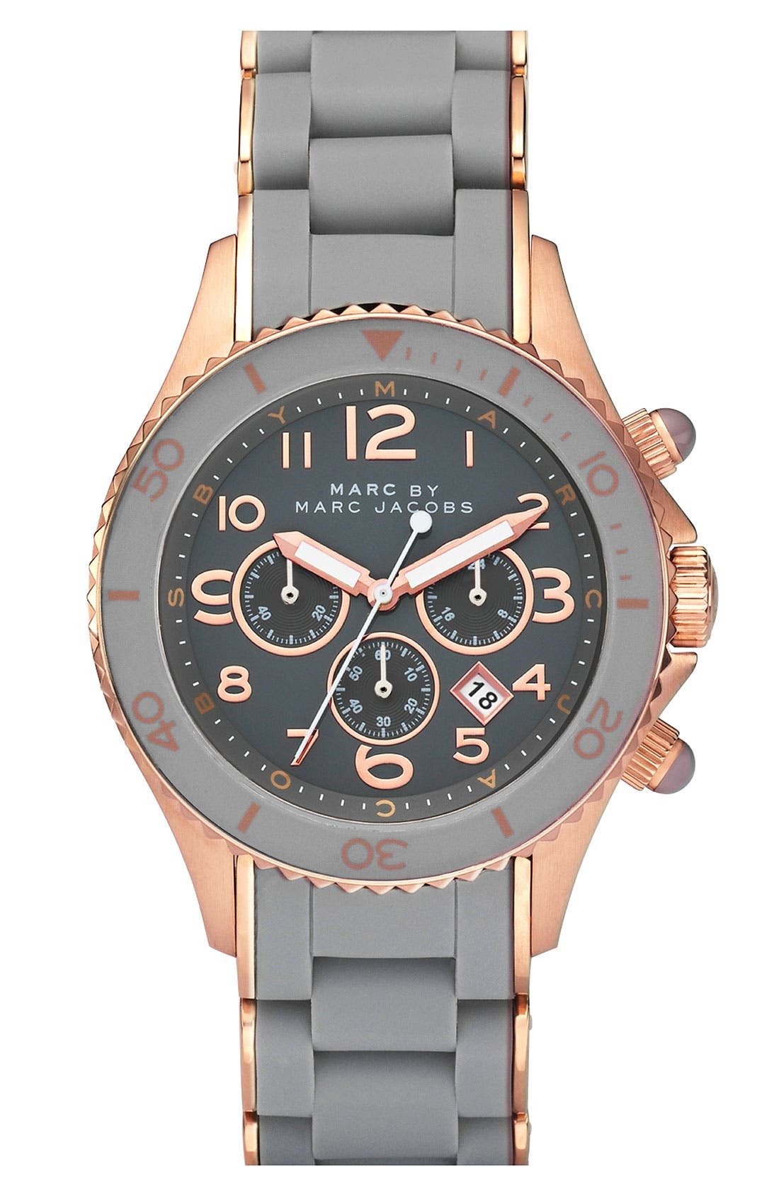 Alternate Image 1 Selected - MARC JACOBS 'Rock' Chronograph Silicone Bracelet Watch, 40mm