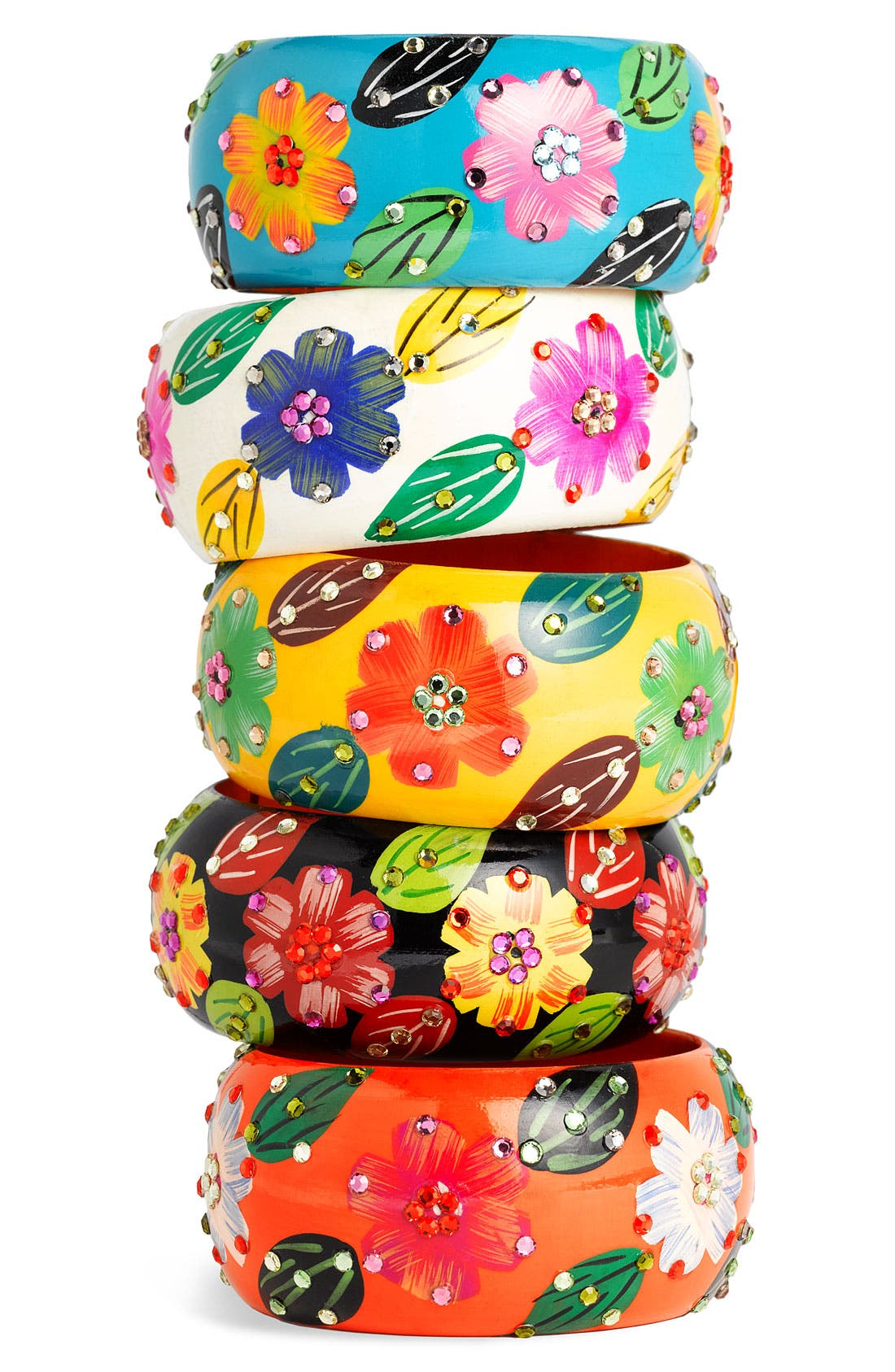 Main Image - Cara Accessories Large Wood Flower Bangle