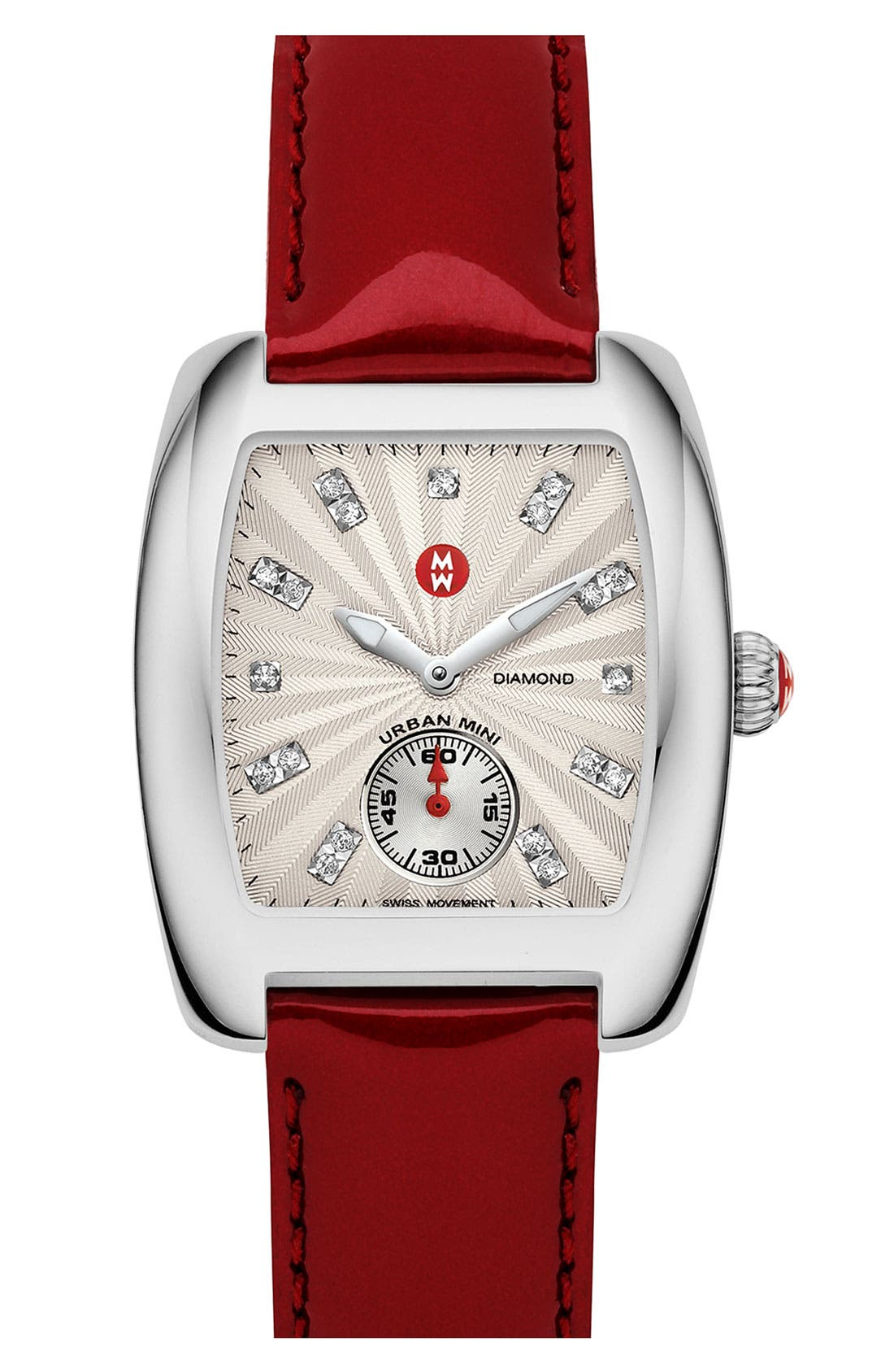 Main Image - MICHELE 'Urban Mini' Diamond Dial Watch Case & 16mm Scarlet Patent Leather Strap