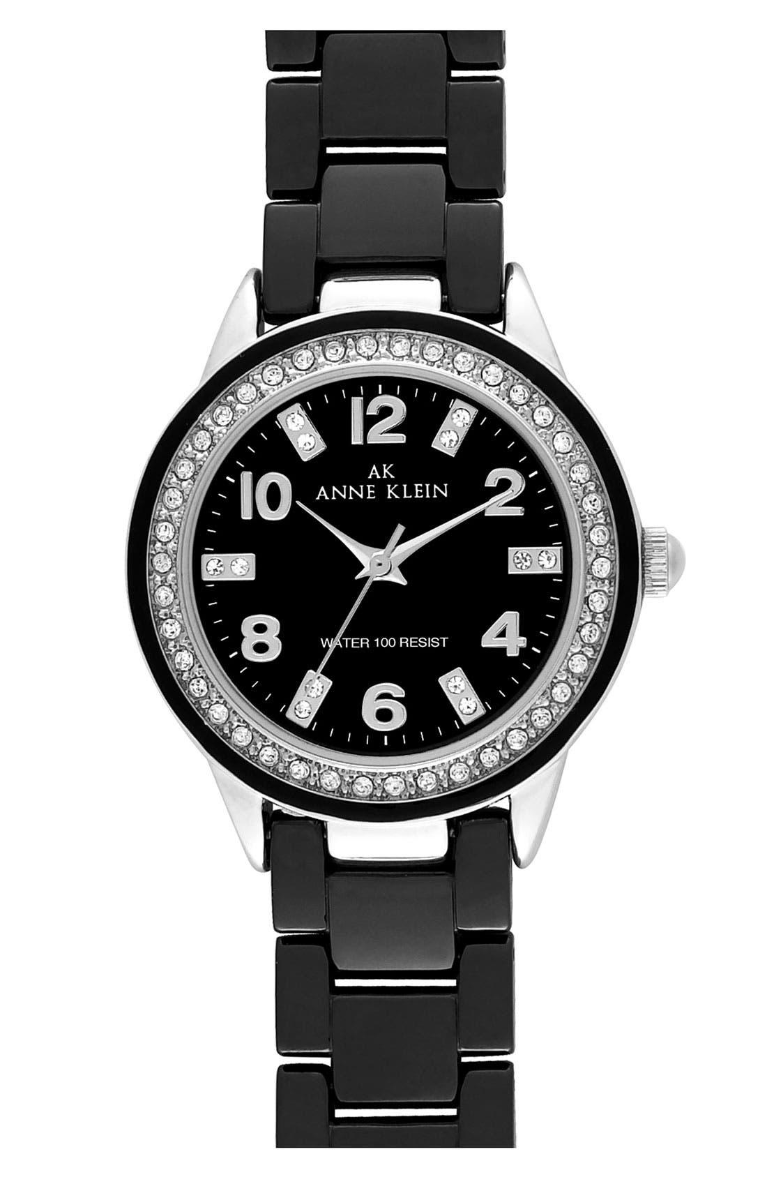 Main Image - Anne Klein Crystal & Ceramic Watch, 35mm