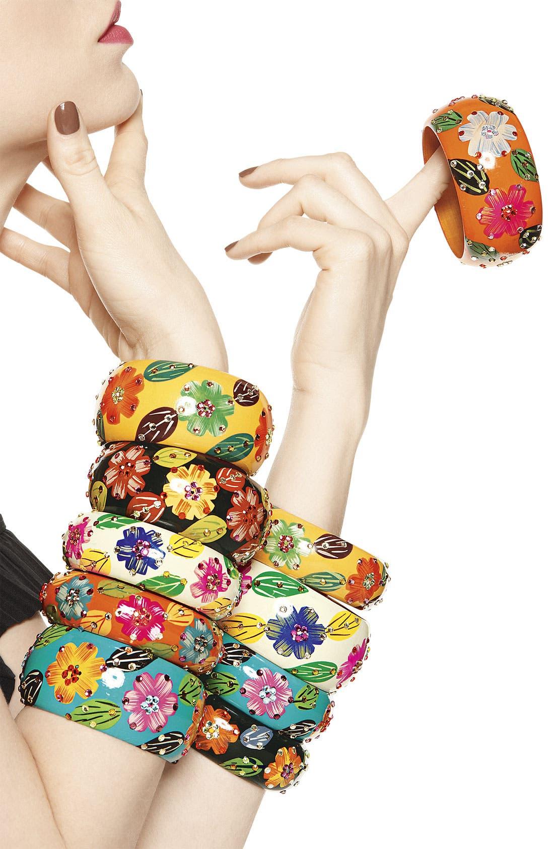 Alternate Image 2  - Cara Accessories Large Wood Flower Bangle