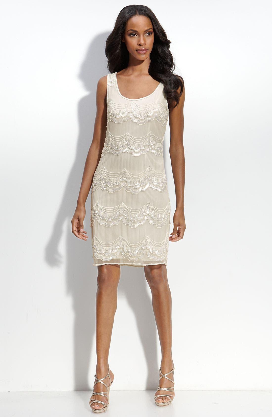 Main Image - Pisarro Nights Sequined Silk Shift Dress
