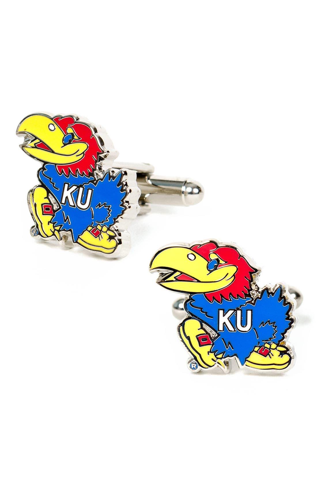 'Kansas Jayhawks' Cuff Links,                             Main thumbnail 1, color,                             Blue/ Red/ Gold