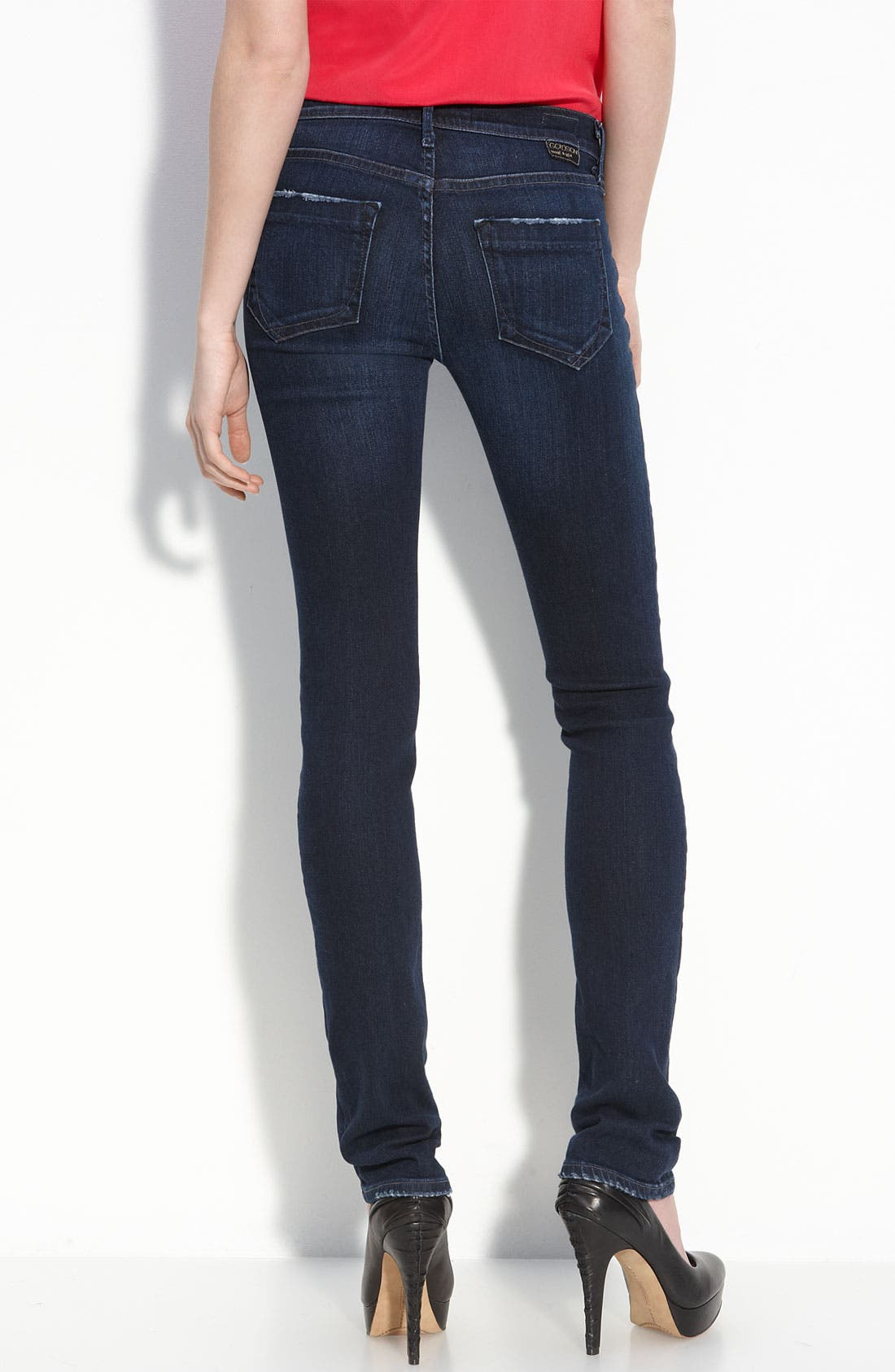 Alternate Image 1 Selected - Goldsign 'Misfit' Straight Leg Stretch Jeans (Motif Wash)