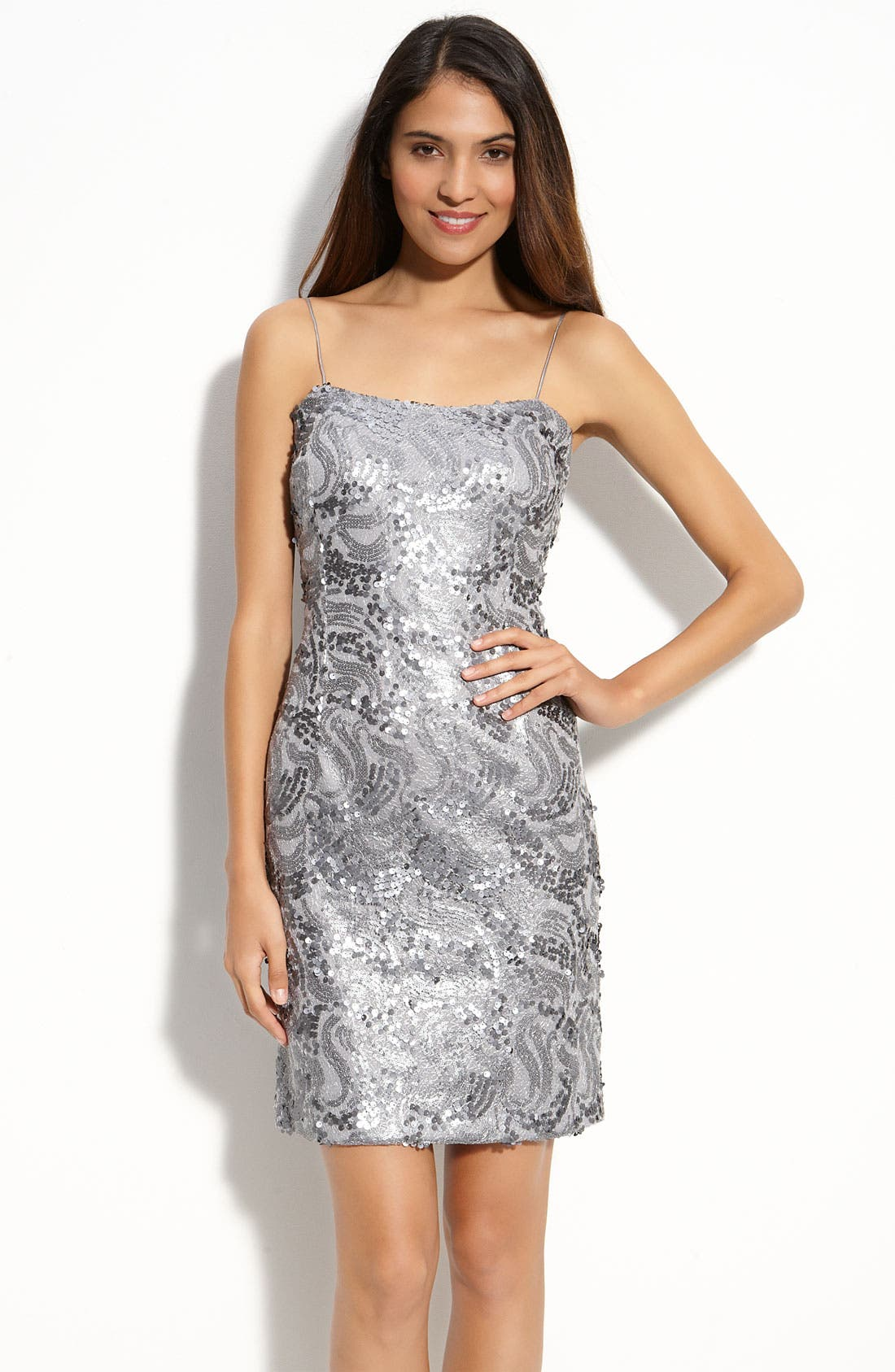 Main Image - JS Boutique Sequin Mesh Sheath Dress