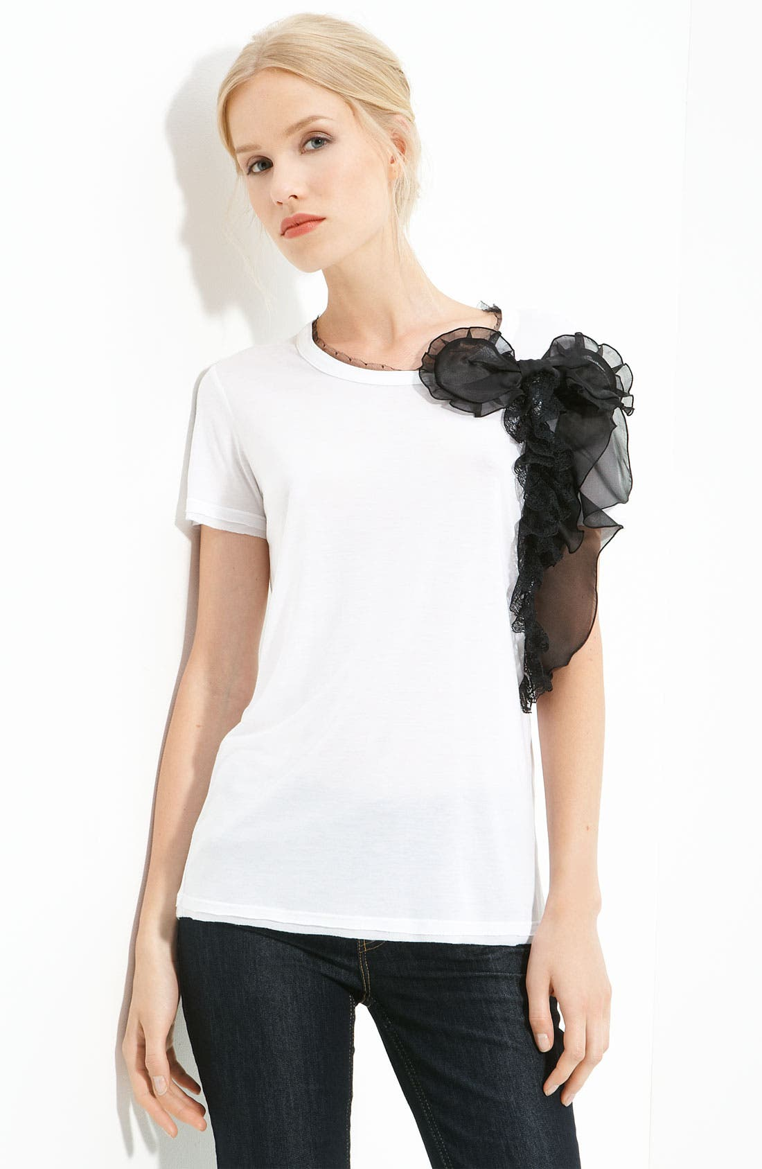 Alternate Image 1 Selected - RED Valentino Bow Trim Tee