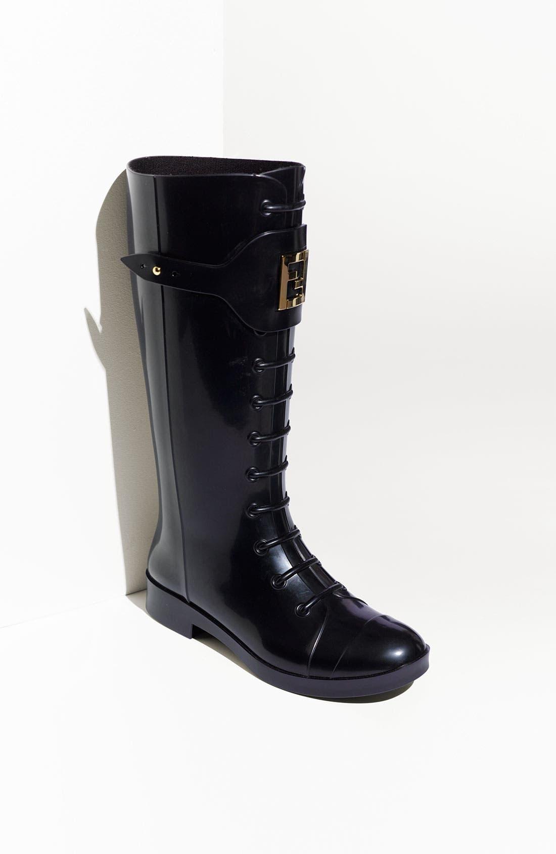 Main Image - Fendi 'Berlin' Faux Lace-Up Rain Boot