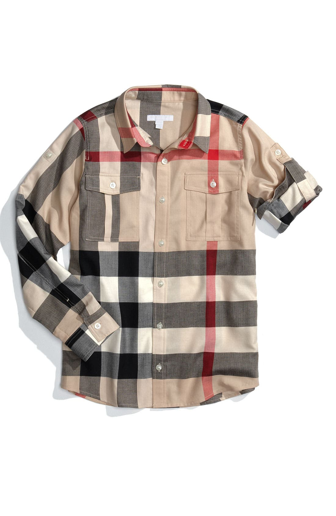Alternate Image 1 Selected - Burberry Check Print Woven Shirt (Big Boys)