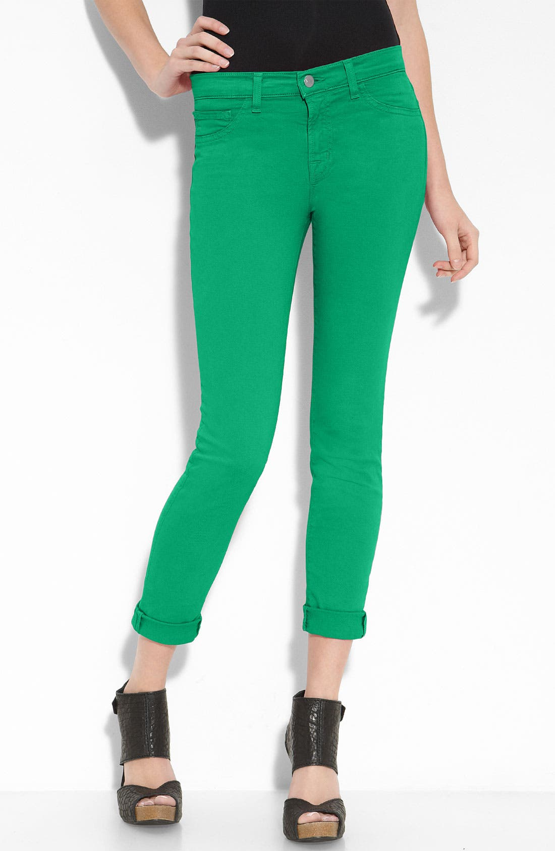 Skinny Stretch Twill Pants,                             Alternate thumbnail 2, color,                             Emerald Green