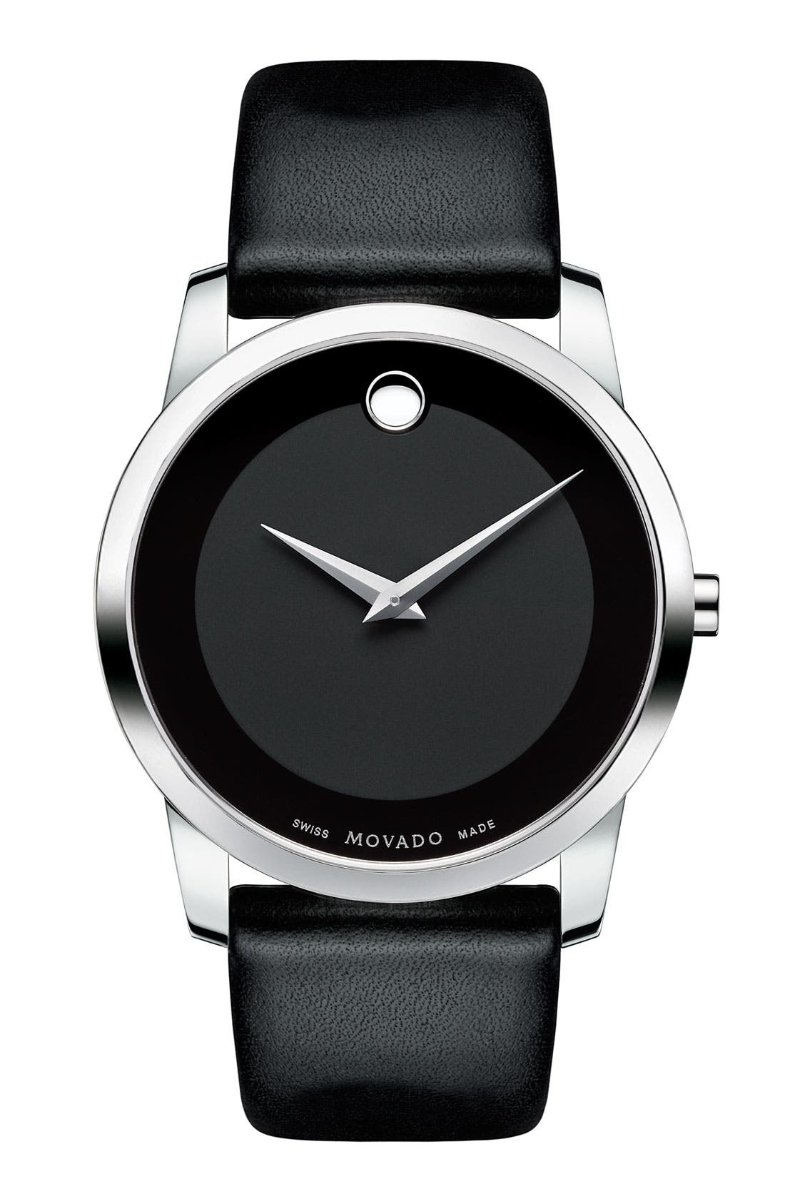 Alternate Image 1 Selected - Movado 'Museum' Leather Strap Watch, 40mm