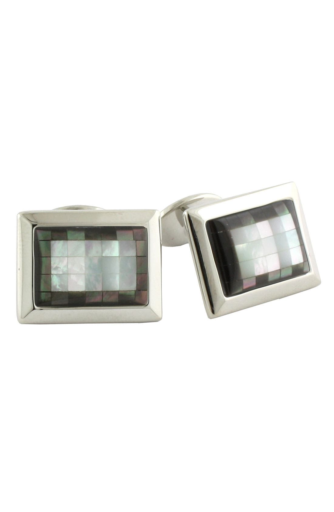 Sterling Silver, Mother-of-Pearl & Hematite Cuff Links,                         Main,                         color, White/ Silver