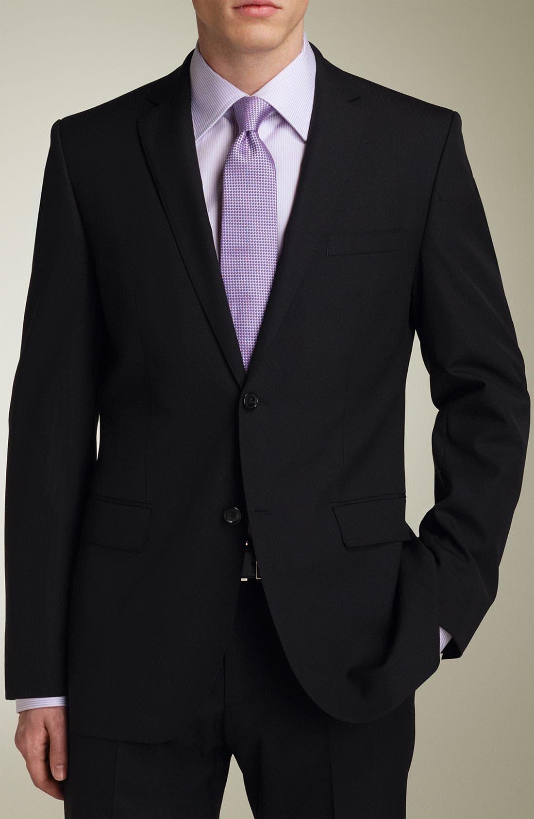Main Image - BOSS 'Jam/Sharp' Trim Fit Black Virgin Wool Suit