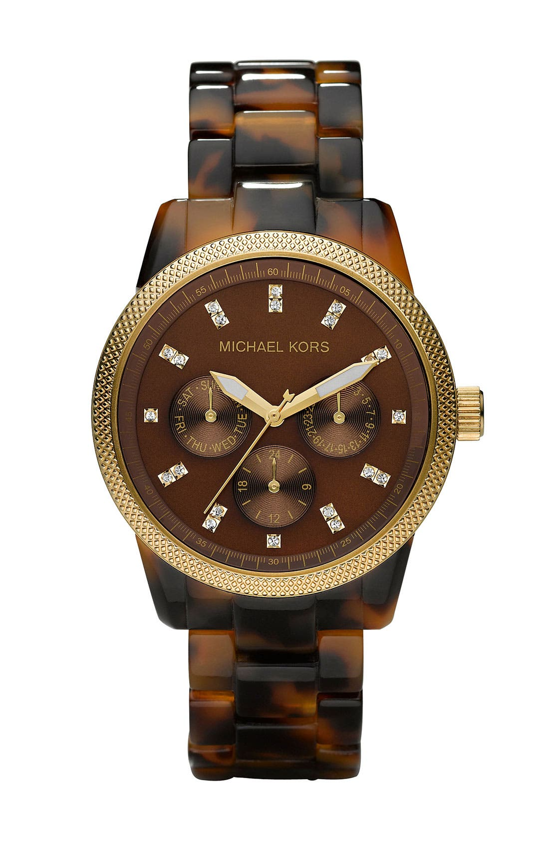 Michael Kors 'Jet Set' Bracelet Watch, 38mm,                             Main thumbnail 1, color,                             Tortoise