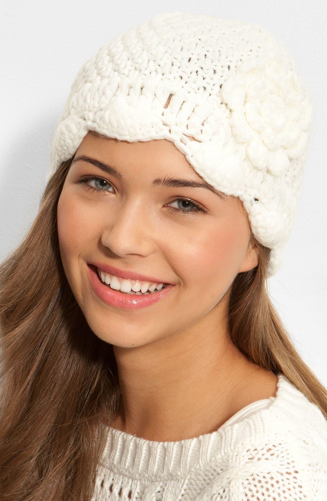 Alternate Image 1 Selected - FRENCHI CROCHET FLOWER HAT