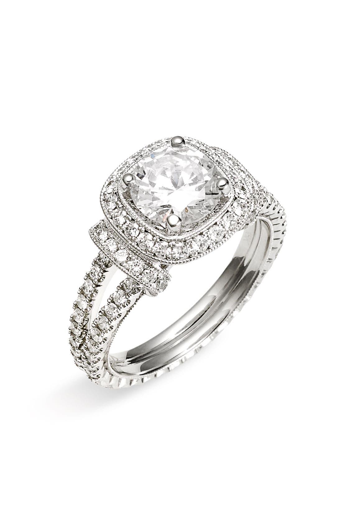 Alternate Image 1 Selected - Jack Kelége 'Romance' Cushion Set Diamond Engagement Ring Setting