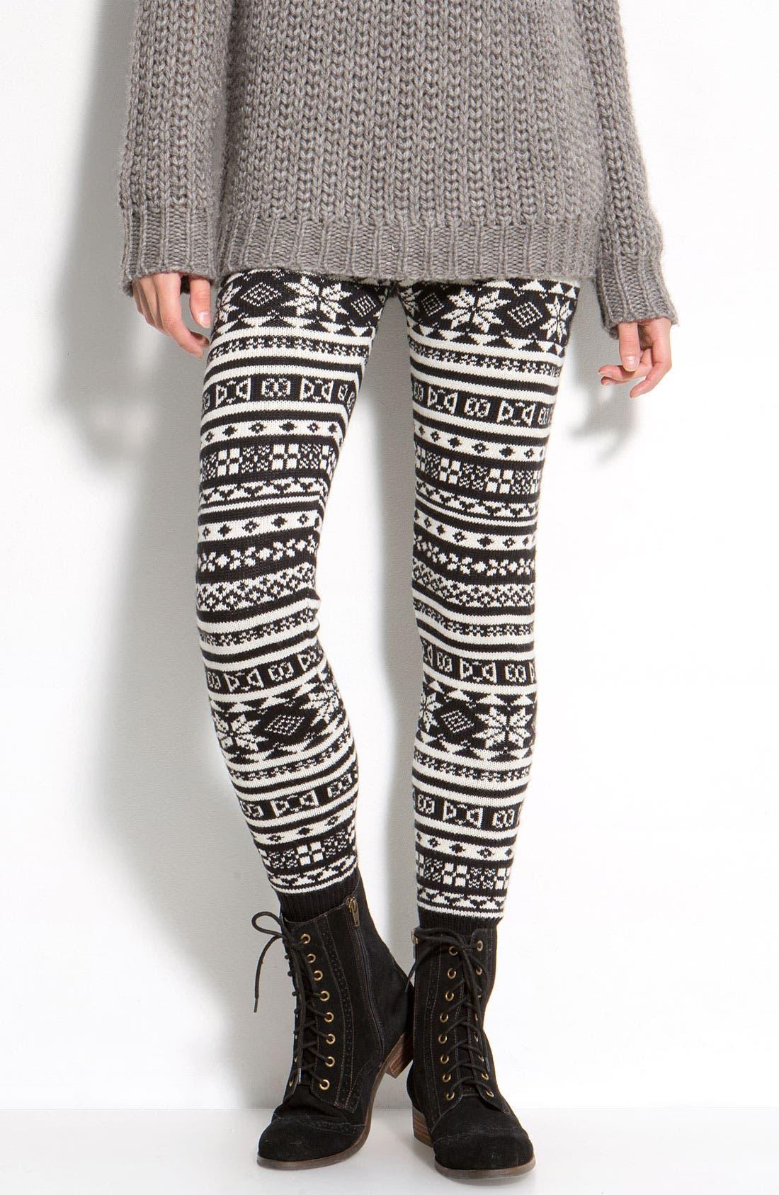 Alternate Image 1 Selected - Hue Nordic Jacquard Sweater Leggings