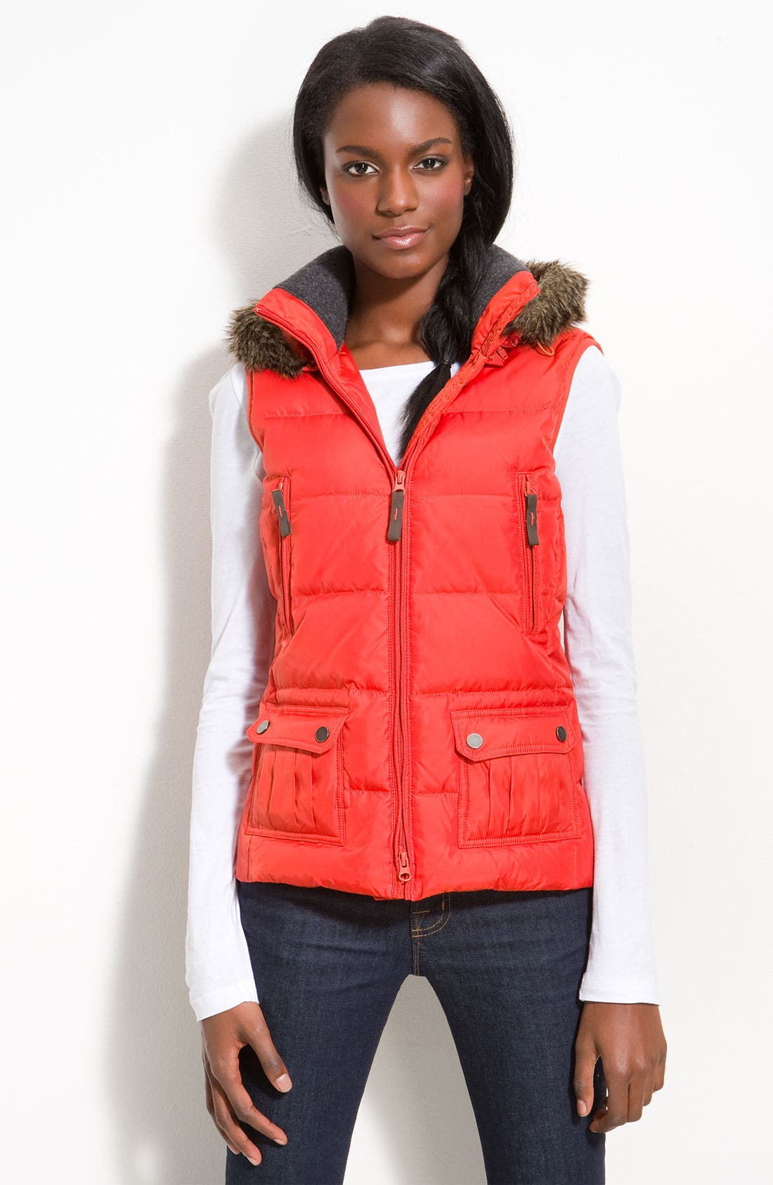 Main Image - Kristen Blake Quilted Vest with Faux Fur Trim