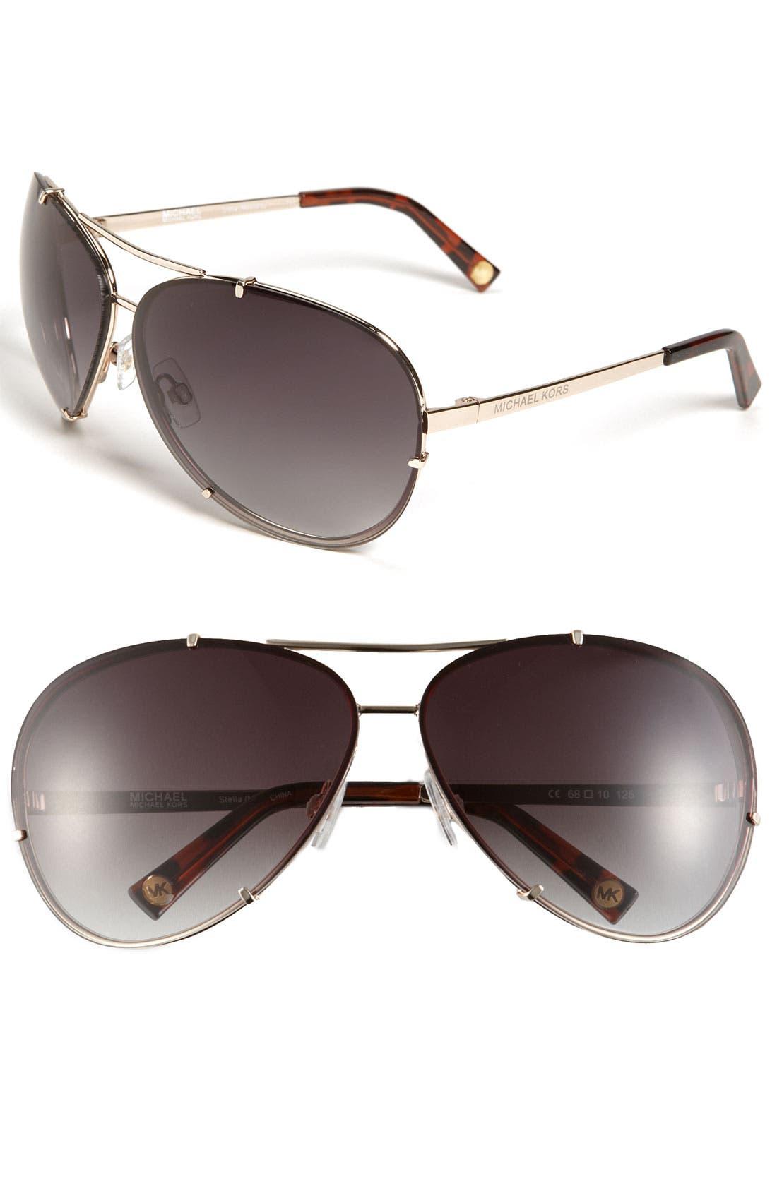 Main Image - MICHAEL Michael Kors 'Stella' 68mm Aviator Sunglasses