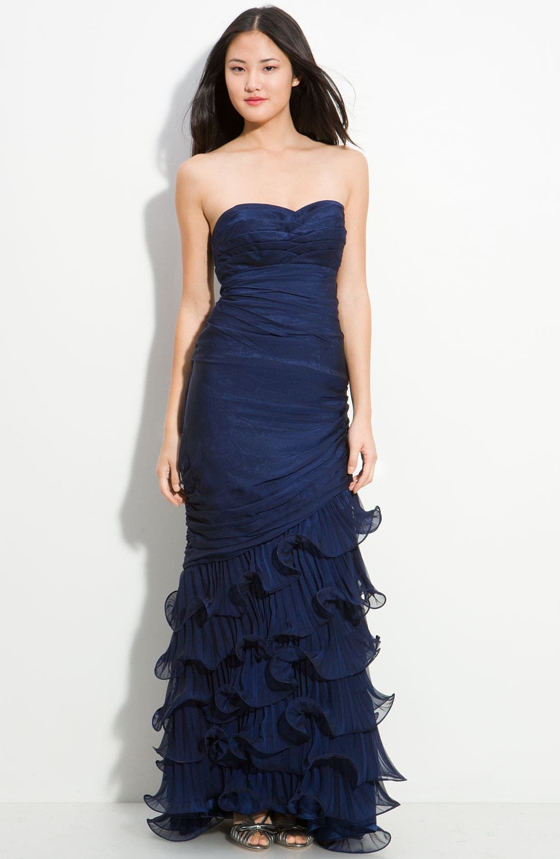 Alternate Image 1 Selected - Dalia MacPhee Strapless Ruffle Chiffon Gown