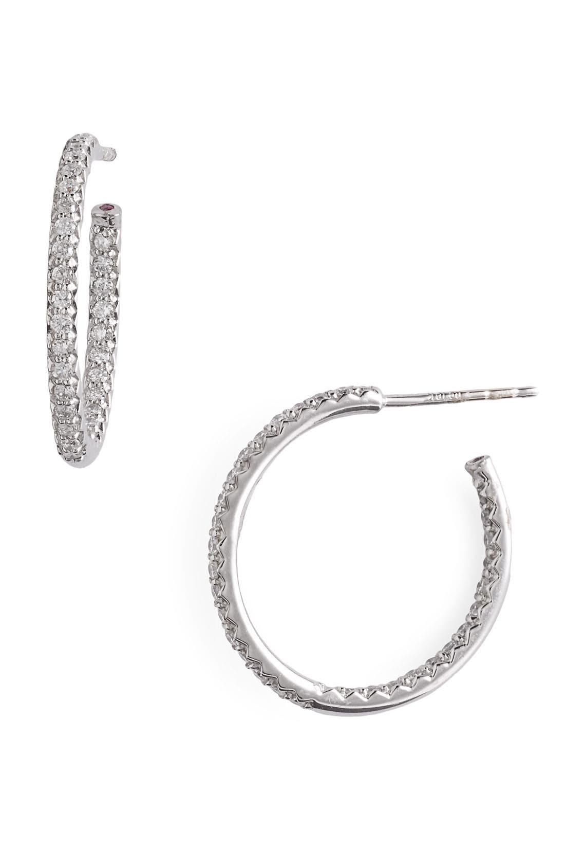 Alternate Image 1 Selected - Roberto Coin Micropavé Diamond Hoop Earrings