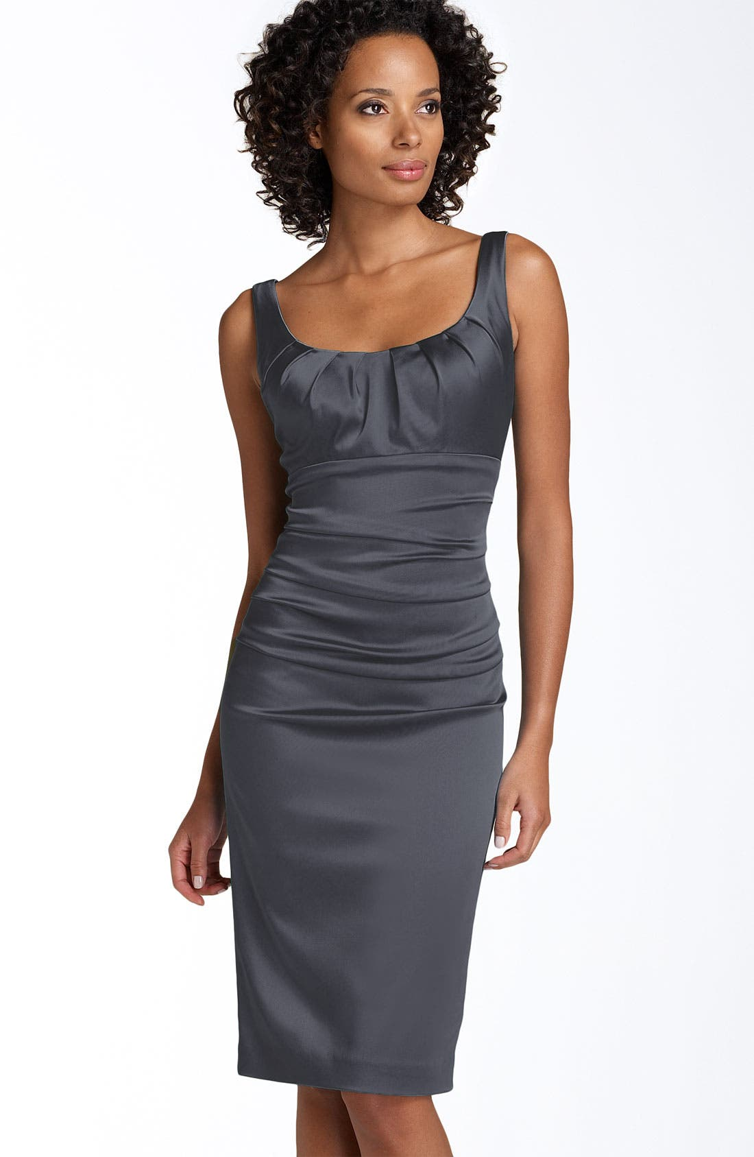 Main Image - Suzi Chin for Maggy Boutique Sleeveless Stretch Satin Sheath Dress